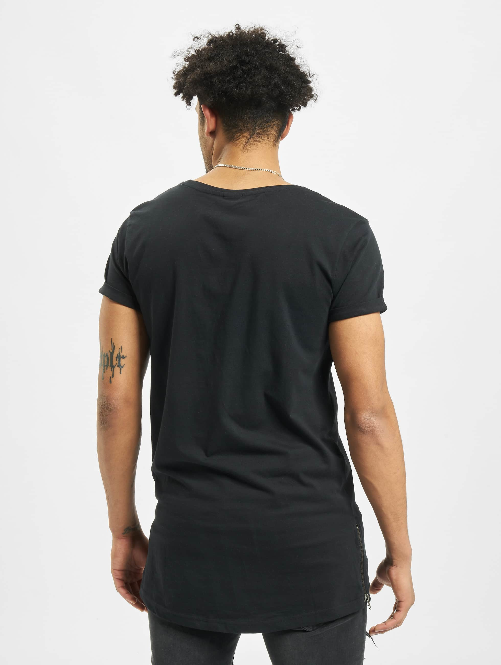 Urban Classics t-shirt Long Shaped Side Zip zwart
