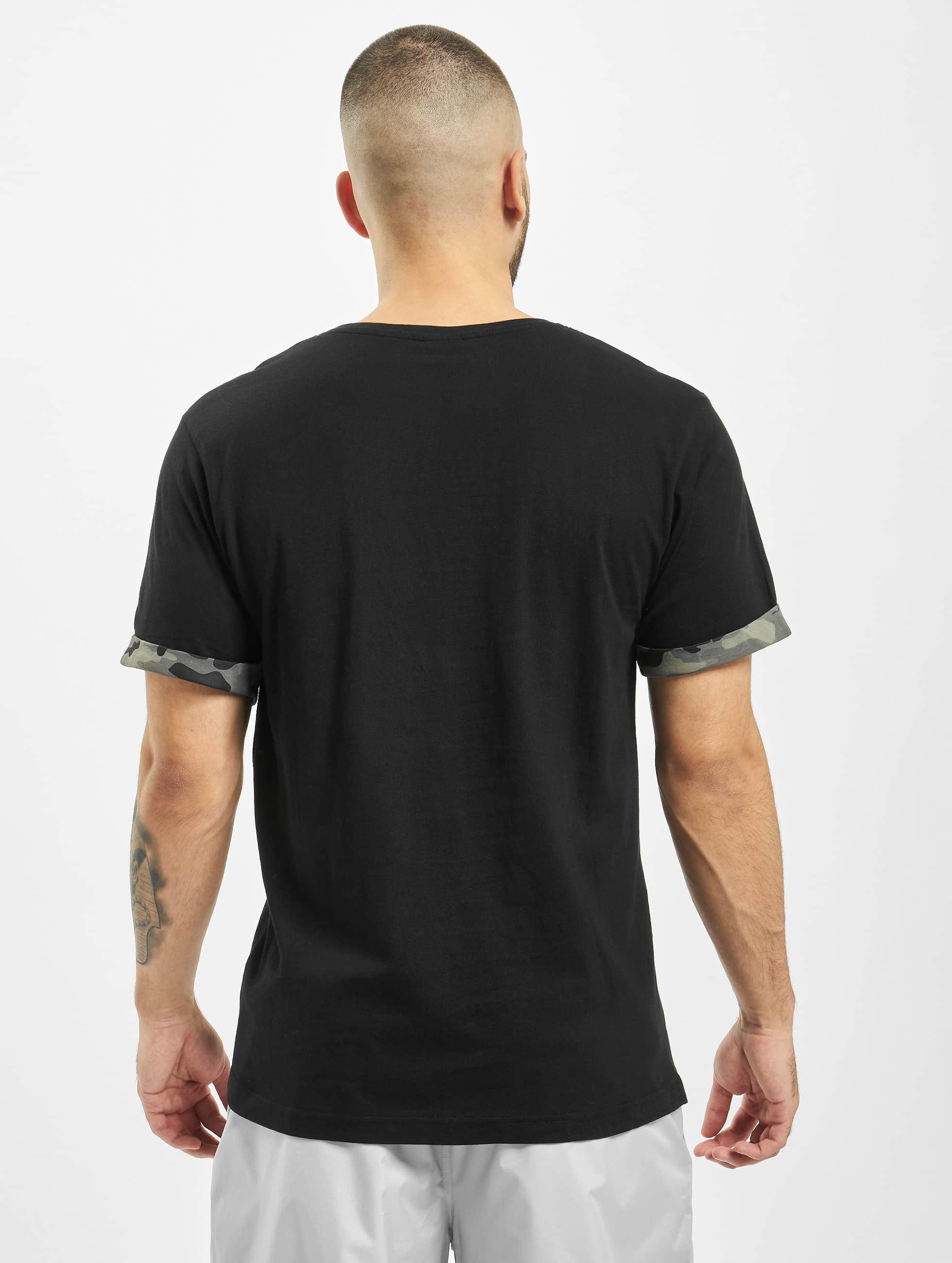 Urban Classics t-shirt Camo Contrast zwart