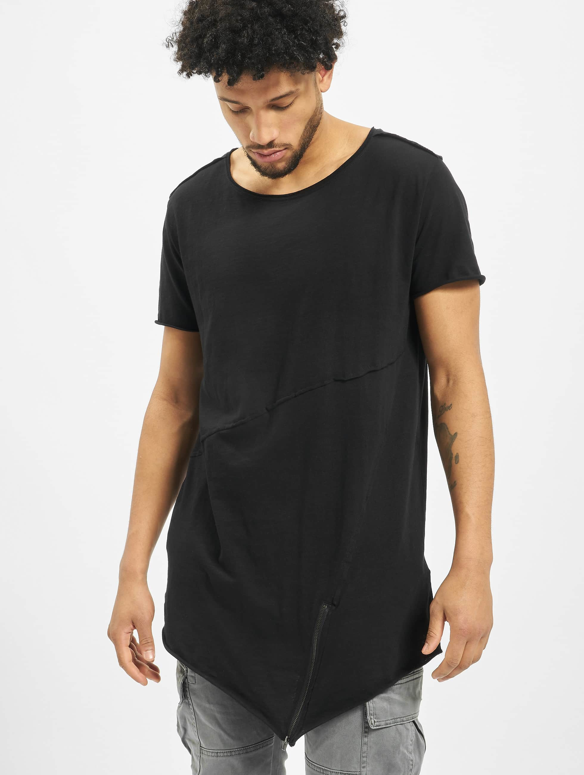 Urban Classics T-Shirty Long Open Edge Front Zip czarny