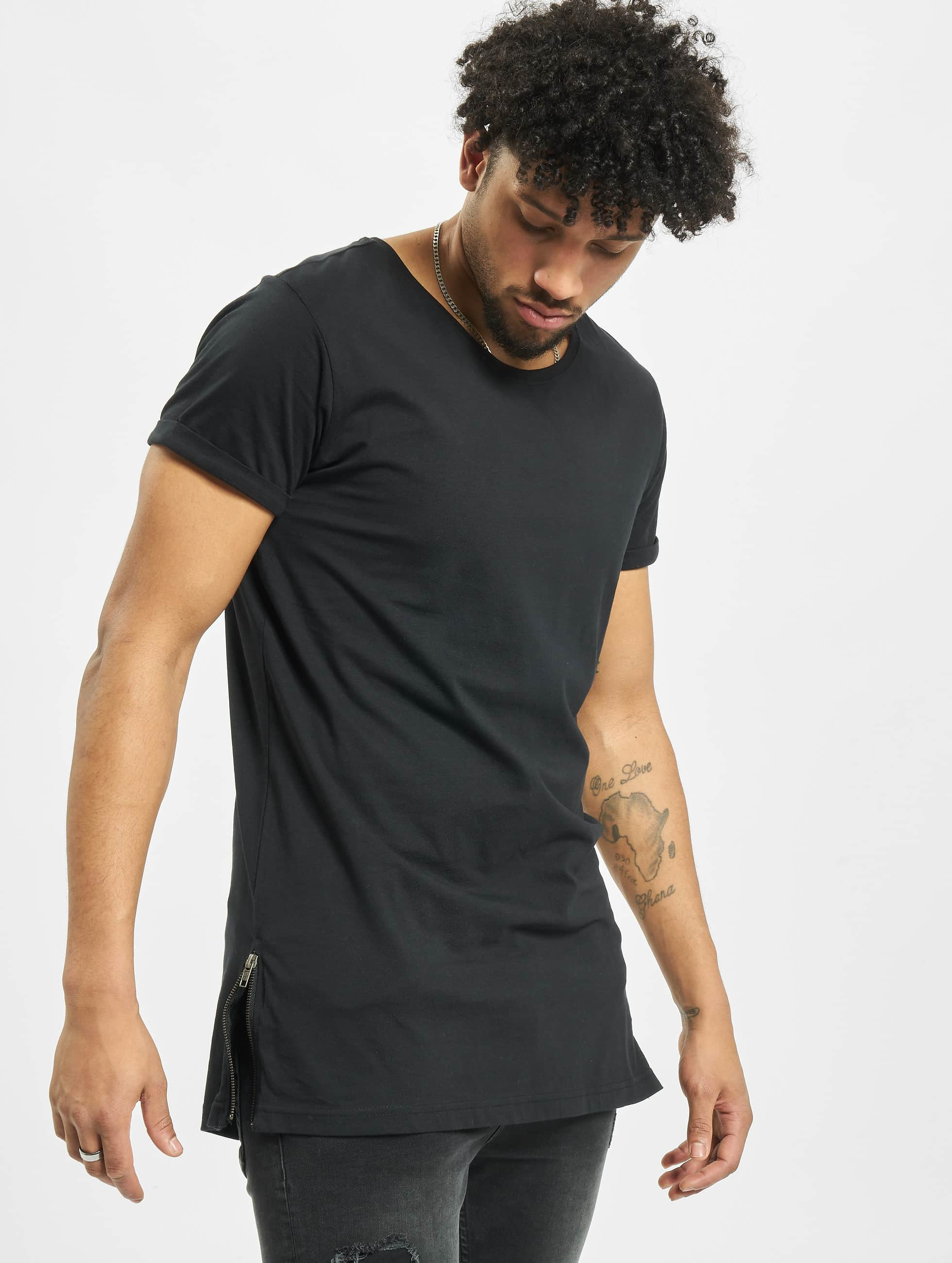 Urban Classics T-skjorter Long Shaped Side Zip svart