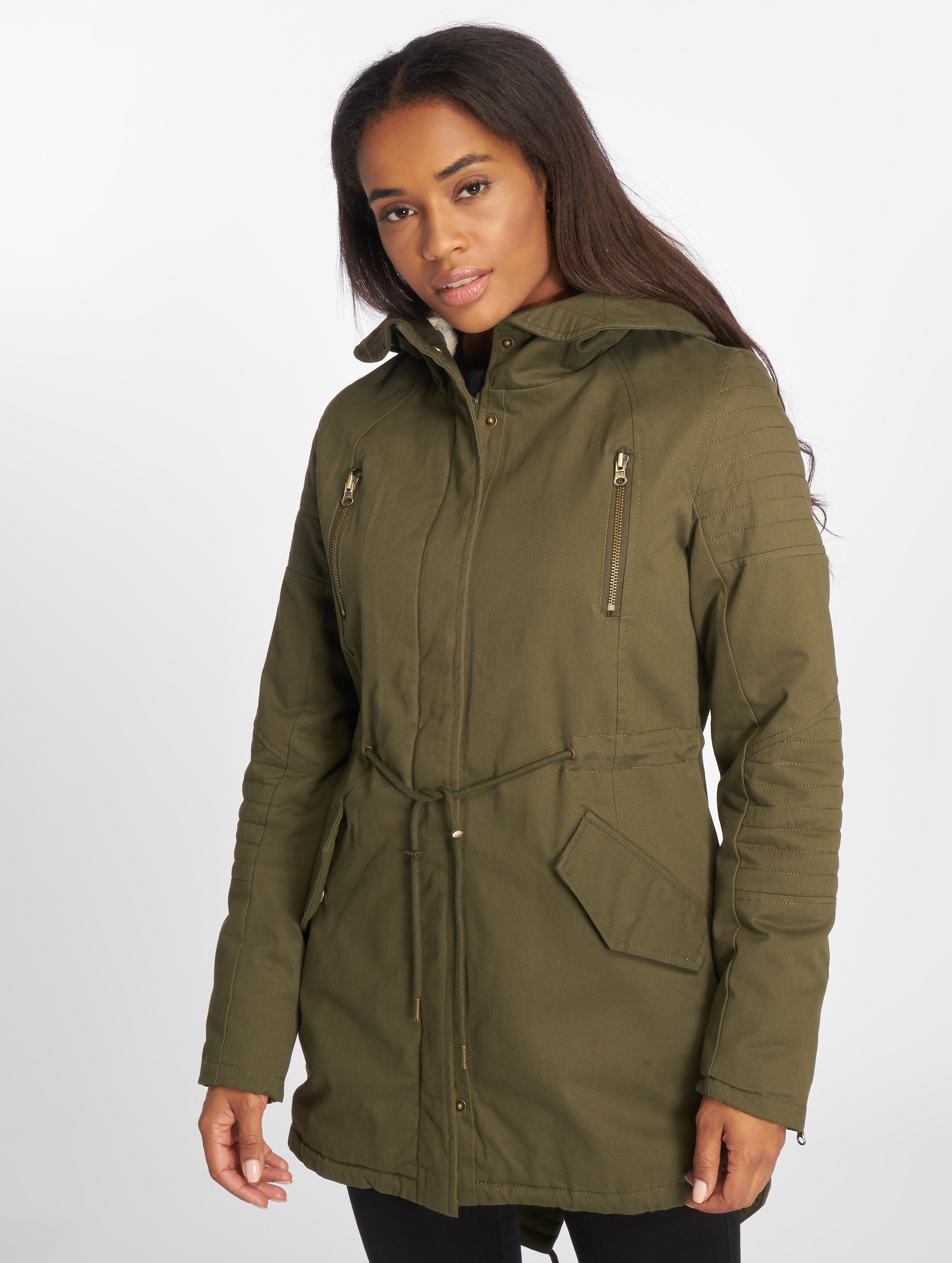 Urban Classics Talvitakit Ladies Sherpa Lined Cotton oliivi