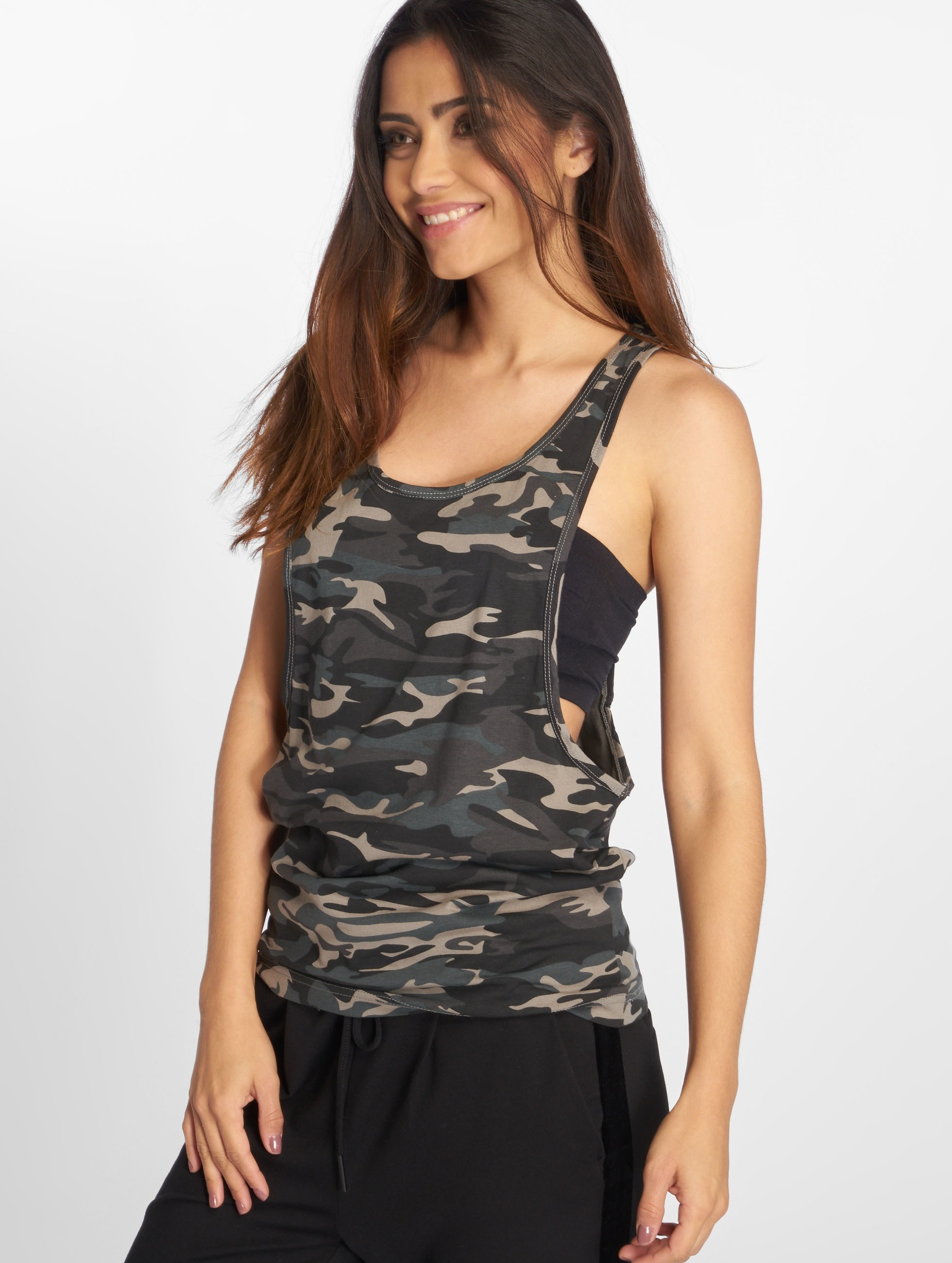 Urban Classics Tank Tops Ladies Camo Loose серый