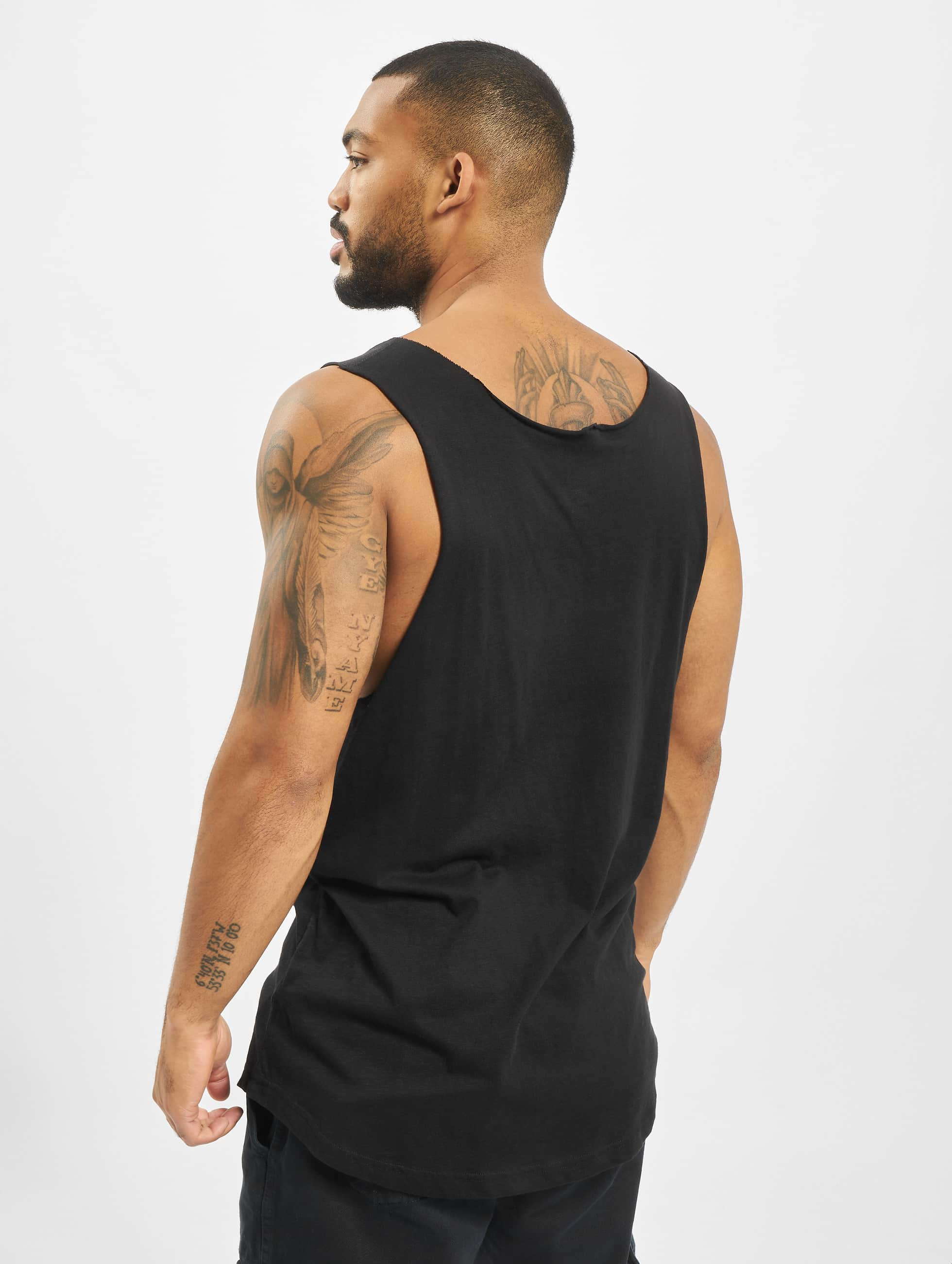 Urban Classics Tank Tops Long Shaped Open Edge Loose musta
