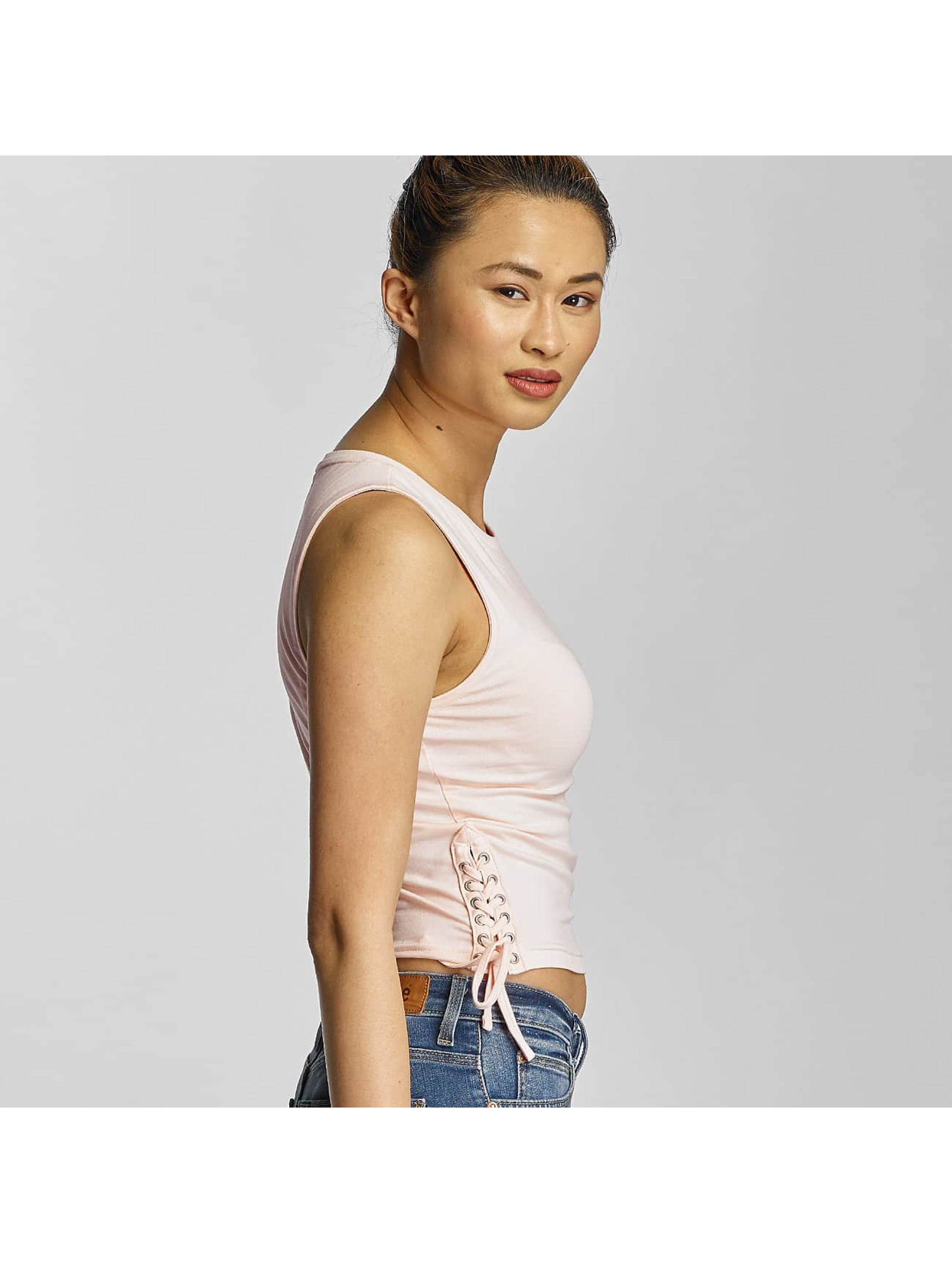 Urban Classics Tank Tops Lace Up Cropped rosa