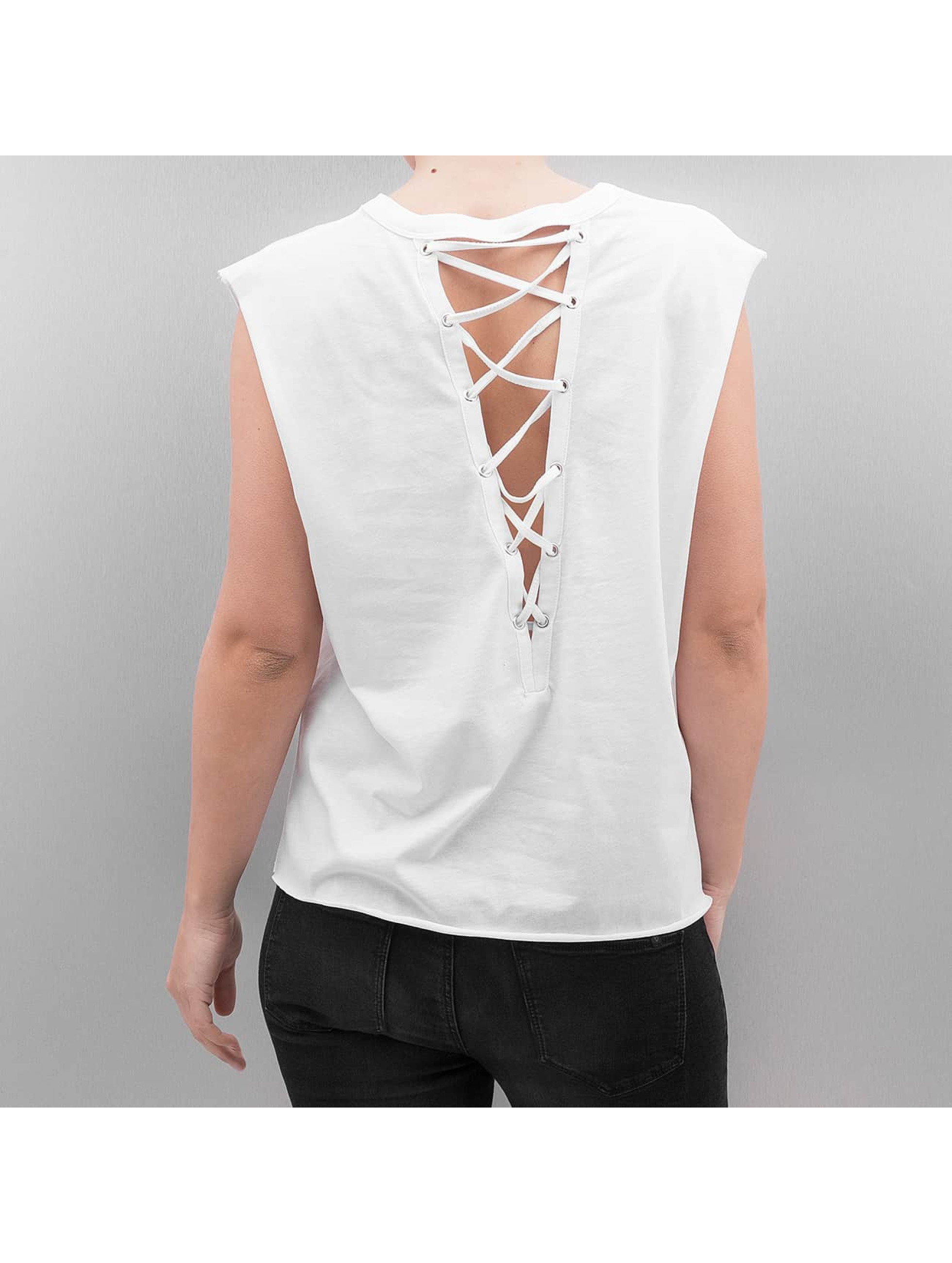 Urban Classics Tank Tops Jersey Lace Up white