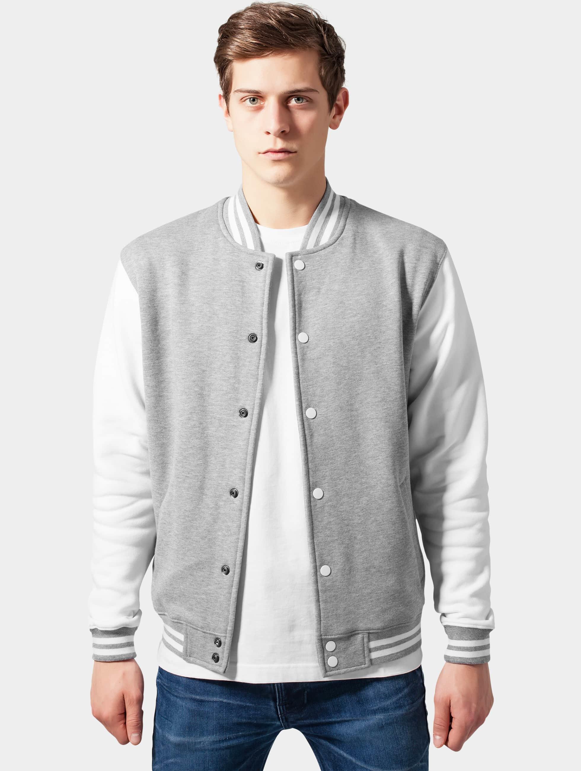 Urban Classics Teddy 2-Tone College Sweatjacket gris