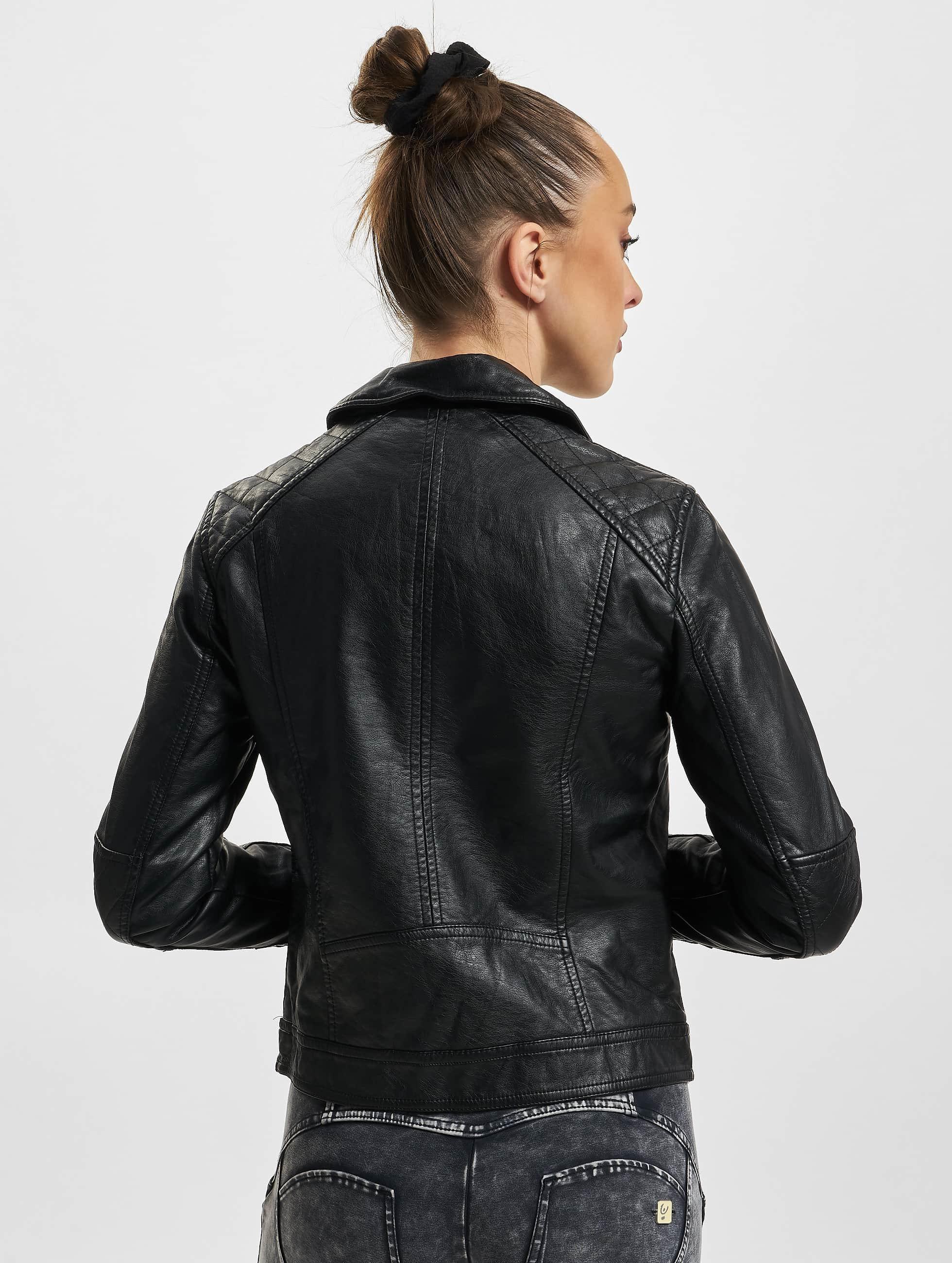 Urban Classics Transitional Jackets Ladies Leather Imitation Biker svart