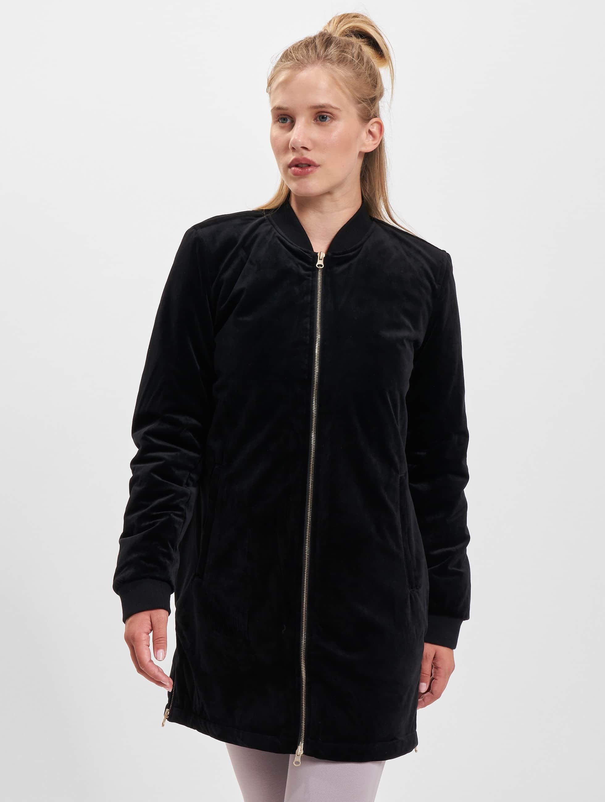Urban Classics Transitional Jackets Ladies Long Velvet svart