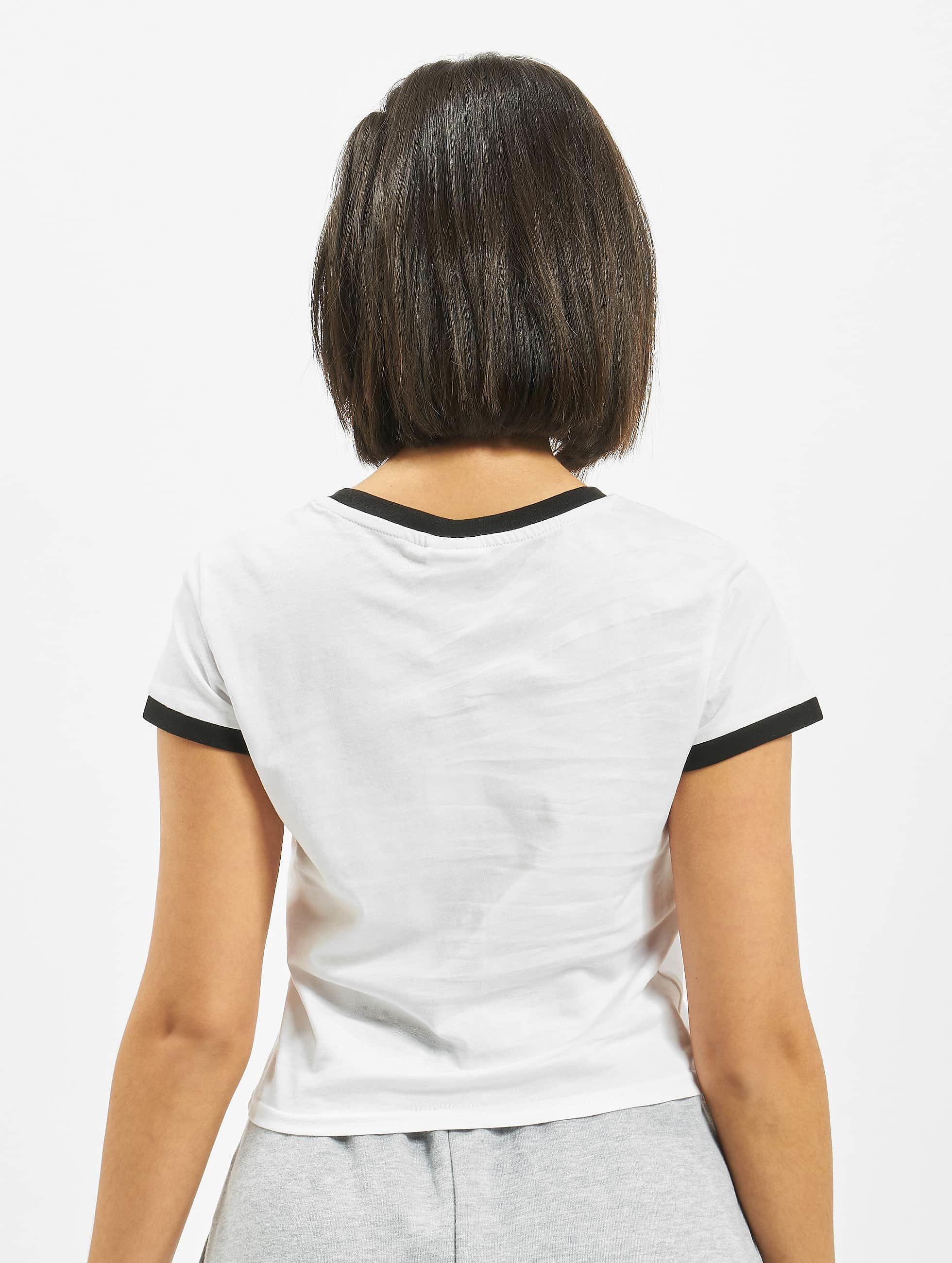 Urban Classics Tričká Ladies Cropped Ringer biela