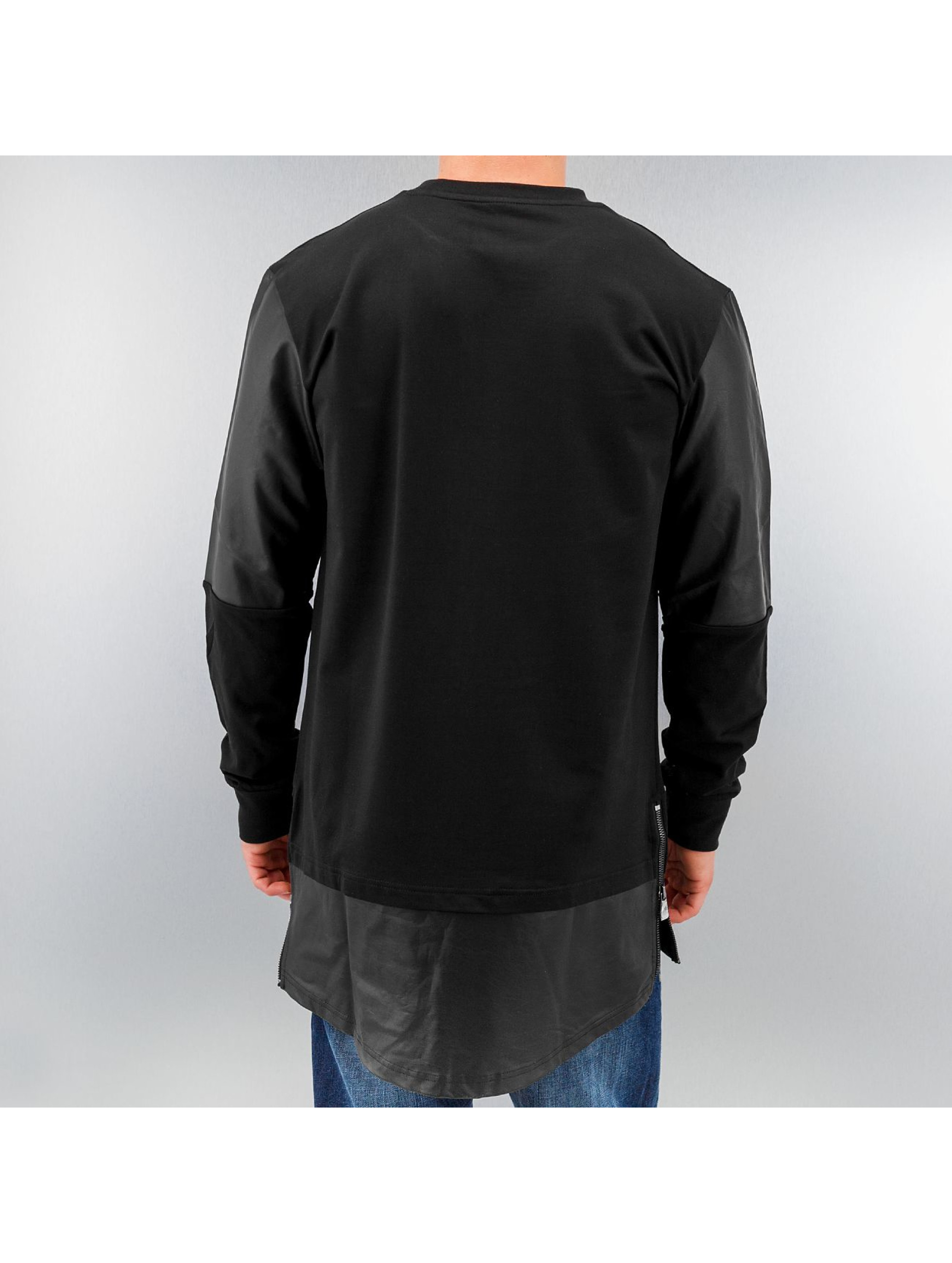 Urban Classics trui Long Zipped Leather Imitation zwart