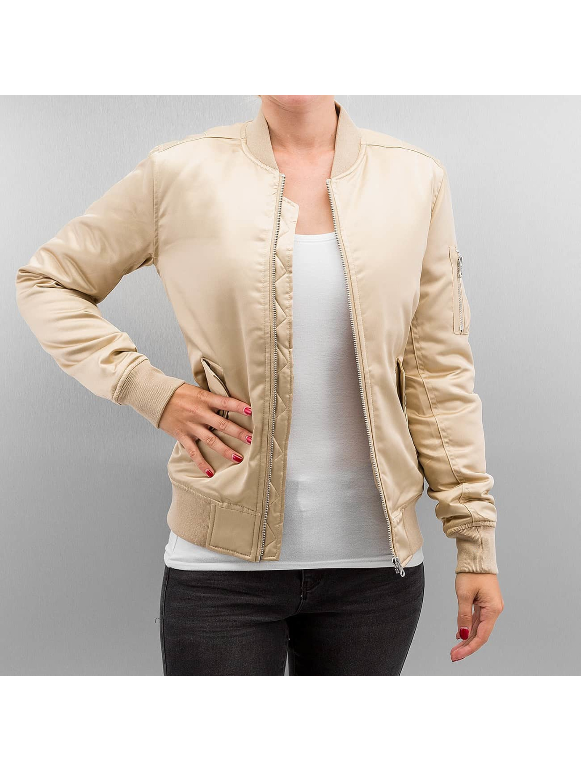 Übergangsjacke Ladies Satin Bomber in goldfarben