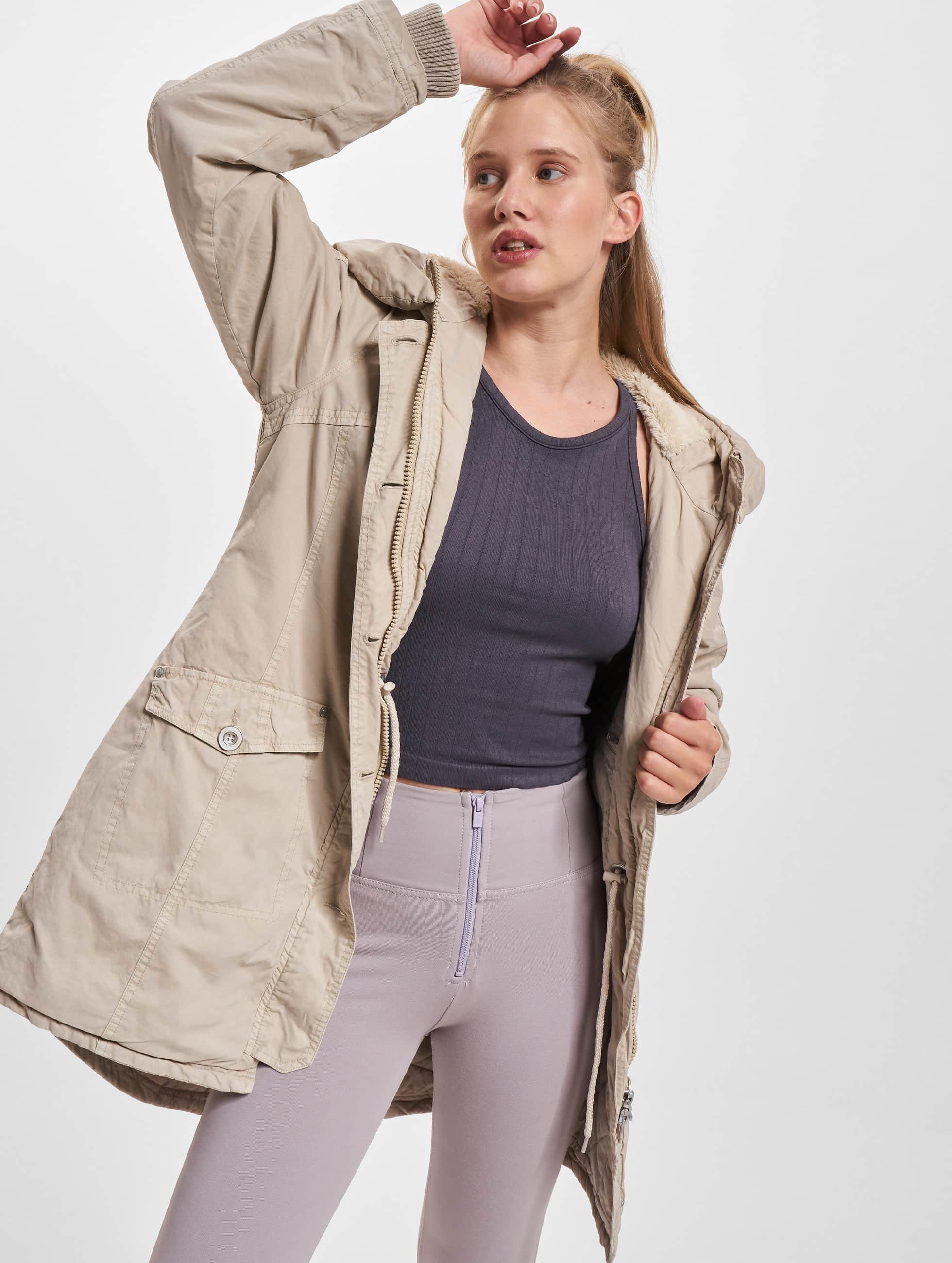 Urban Classics Ulkotakit Garment Washed Long beige
