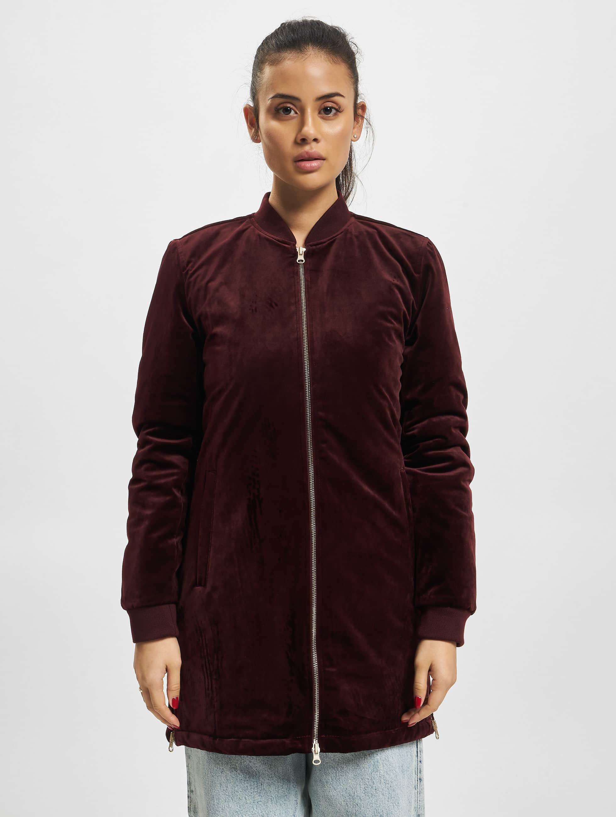 Urban Classics Välikausitakit Ladies Long Velvet punainen