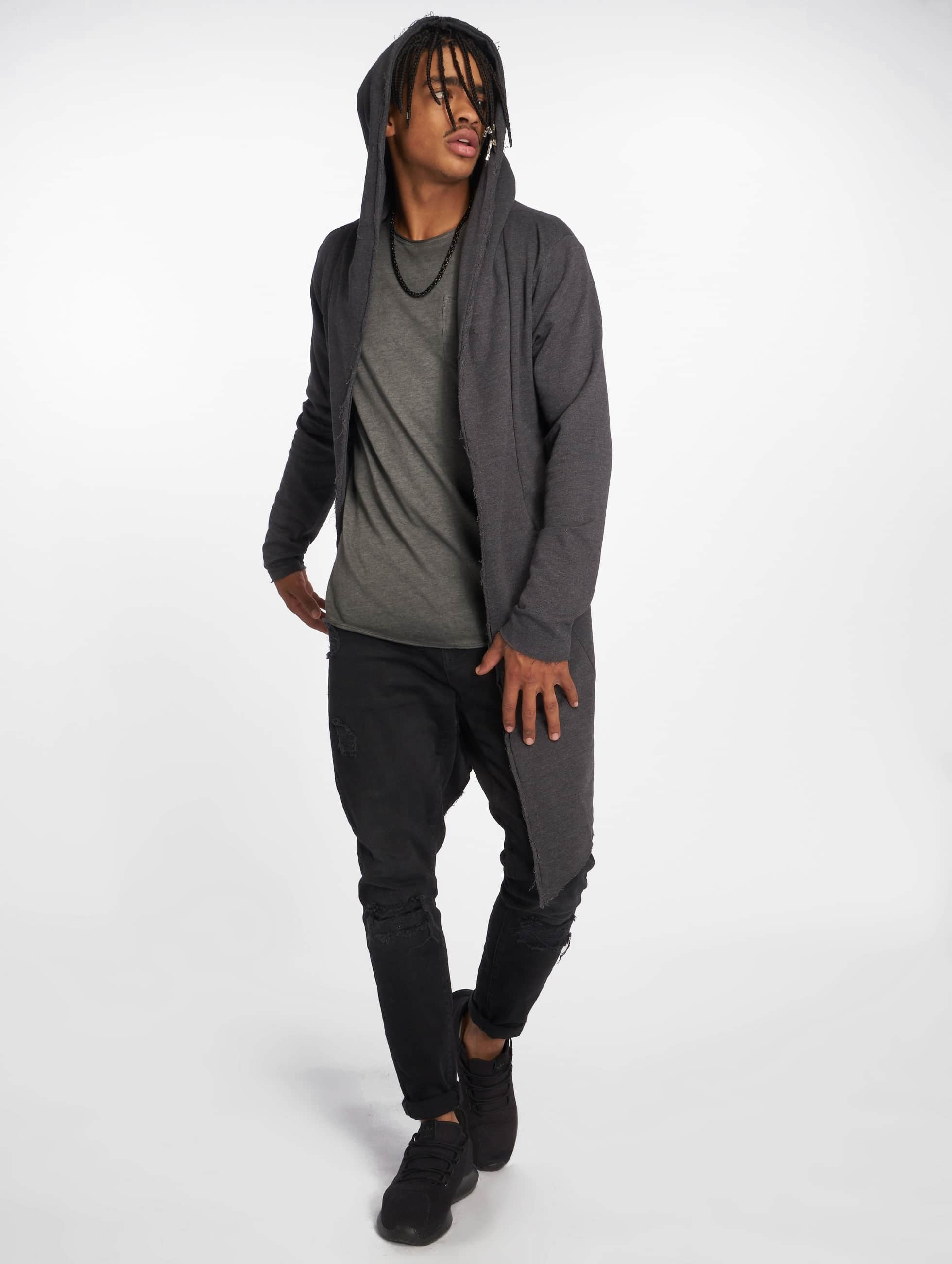 Urban Classics vest Long Hooded grijs