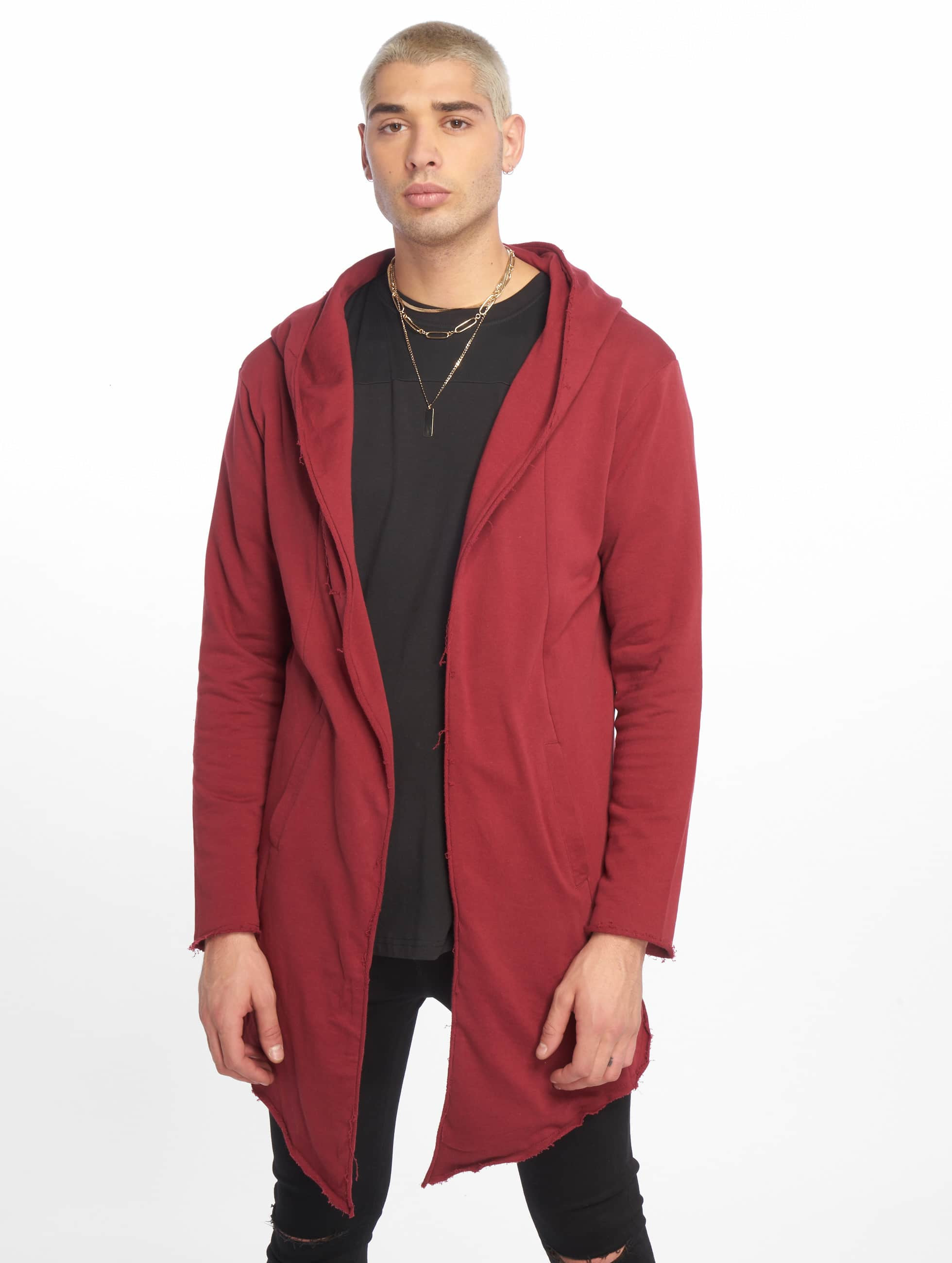 Urban Classics vest Long Hooded Open Edge rood
