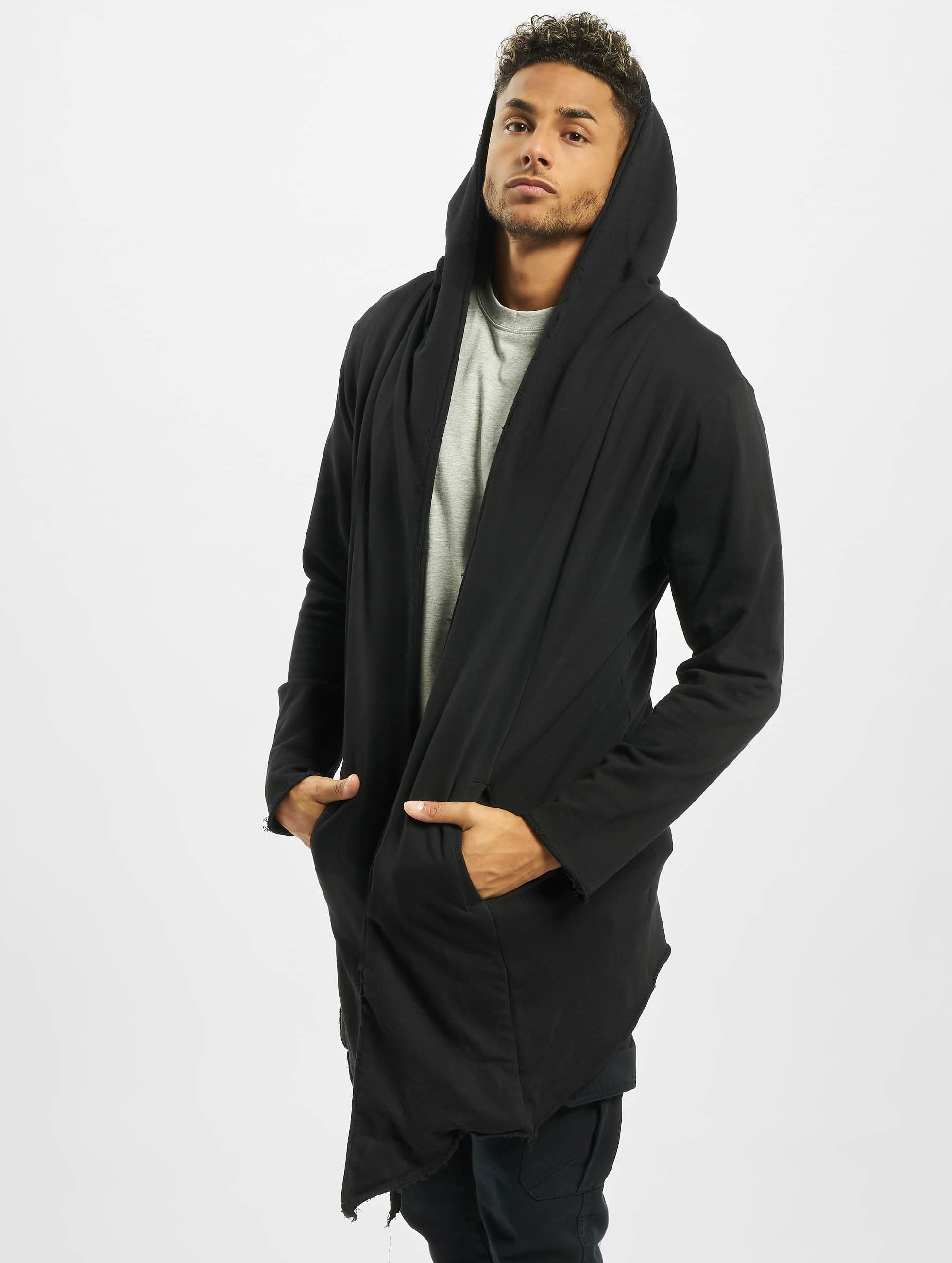 Urban Classics vest Long Hooded Open Edge zwart