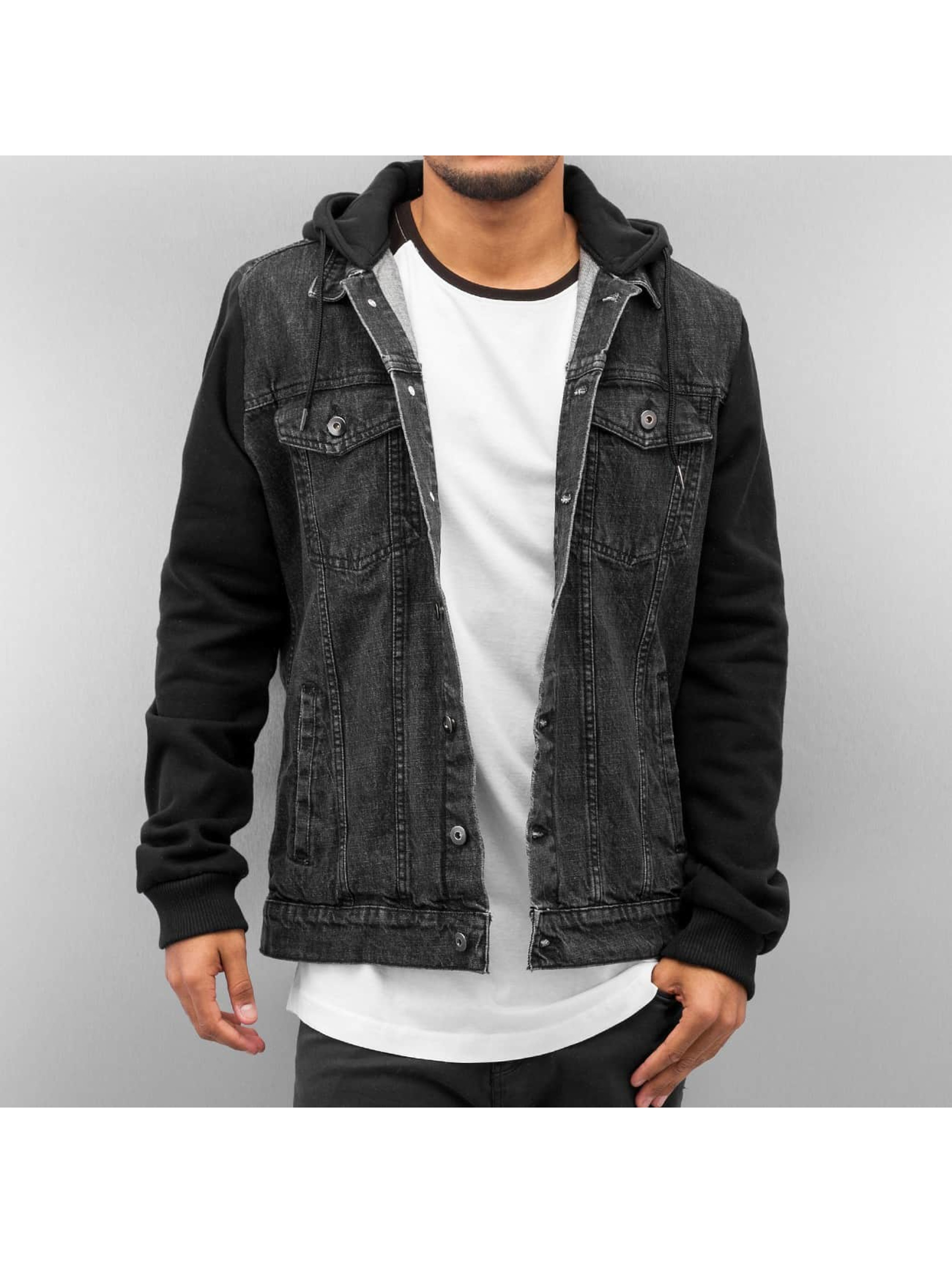 Urban Classics Veste mi-saison légère Hooded Denim Fleece noir