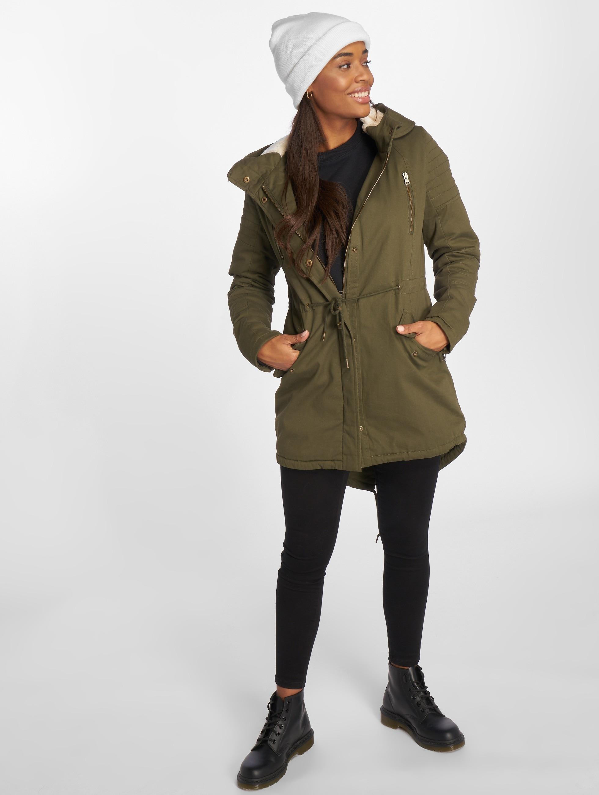 Urban Classics Vinterjackor Ladies Sherpa Lined Cotton oliv