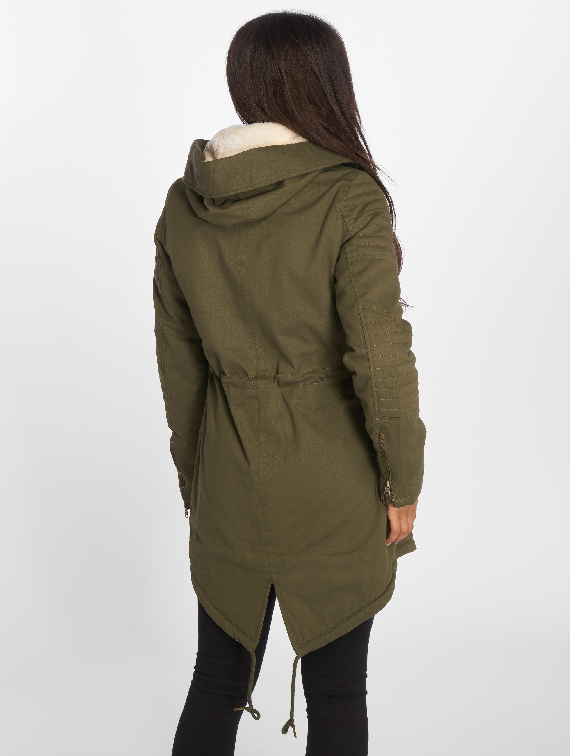 Urban Classics Winter Jacket Ladies Sherpa Lined Cotton olive