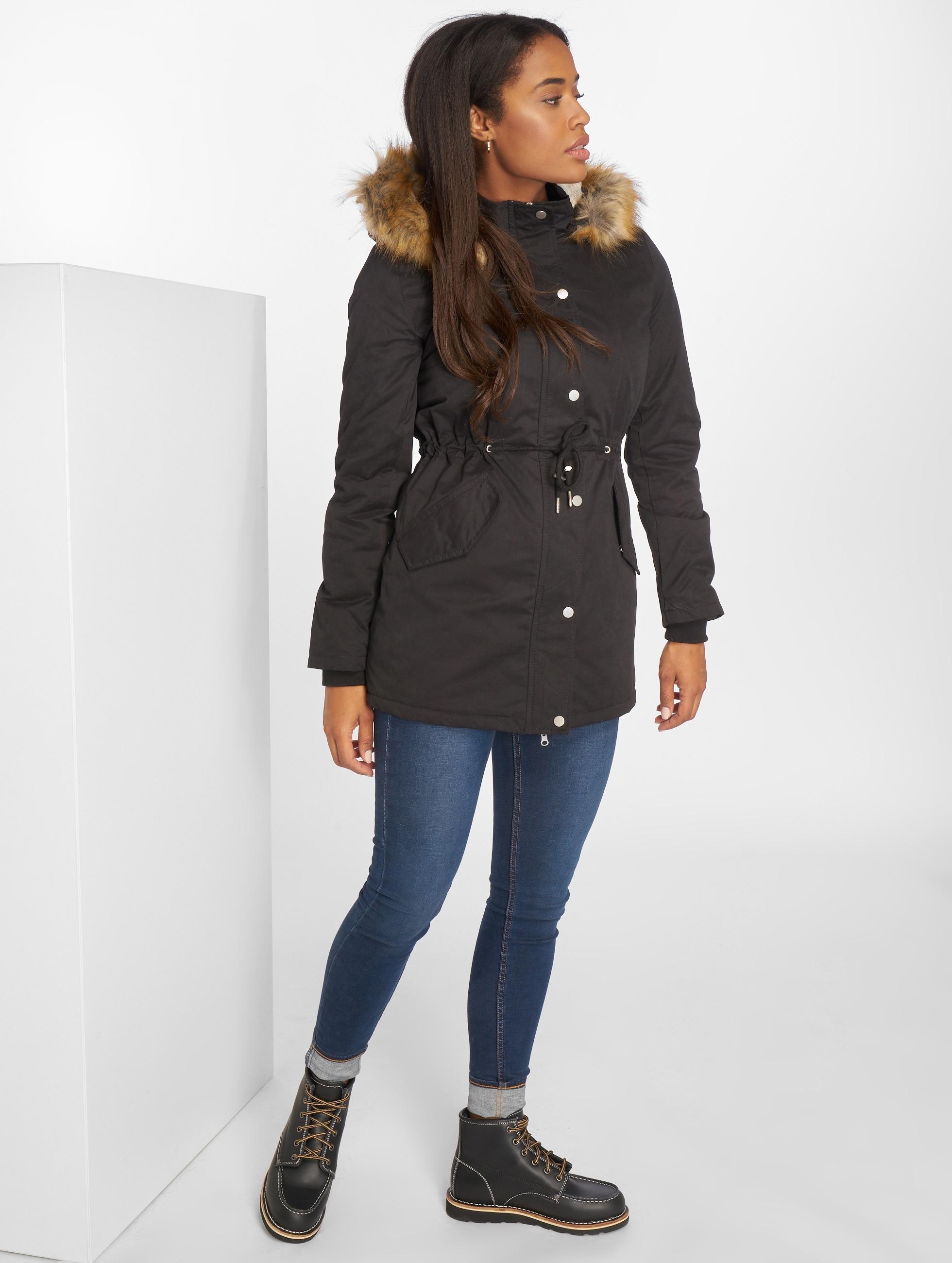 Urban Classics Winterjacke Ladies Sherpa Lined Peached schwarz