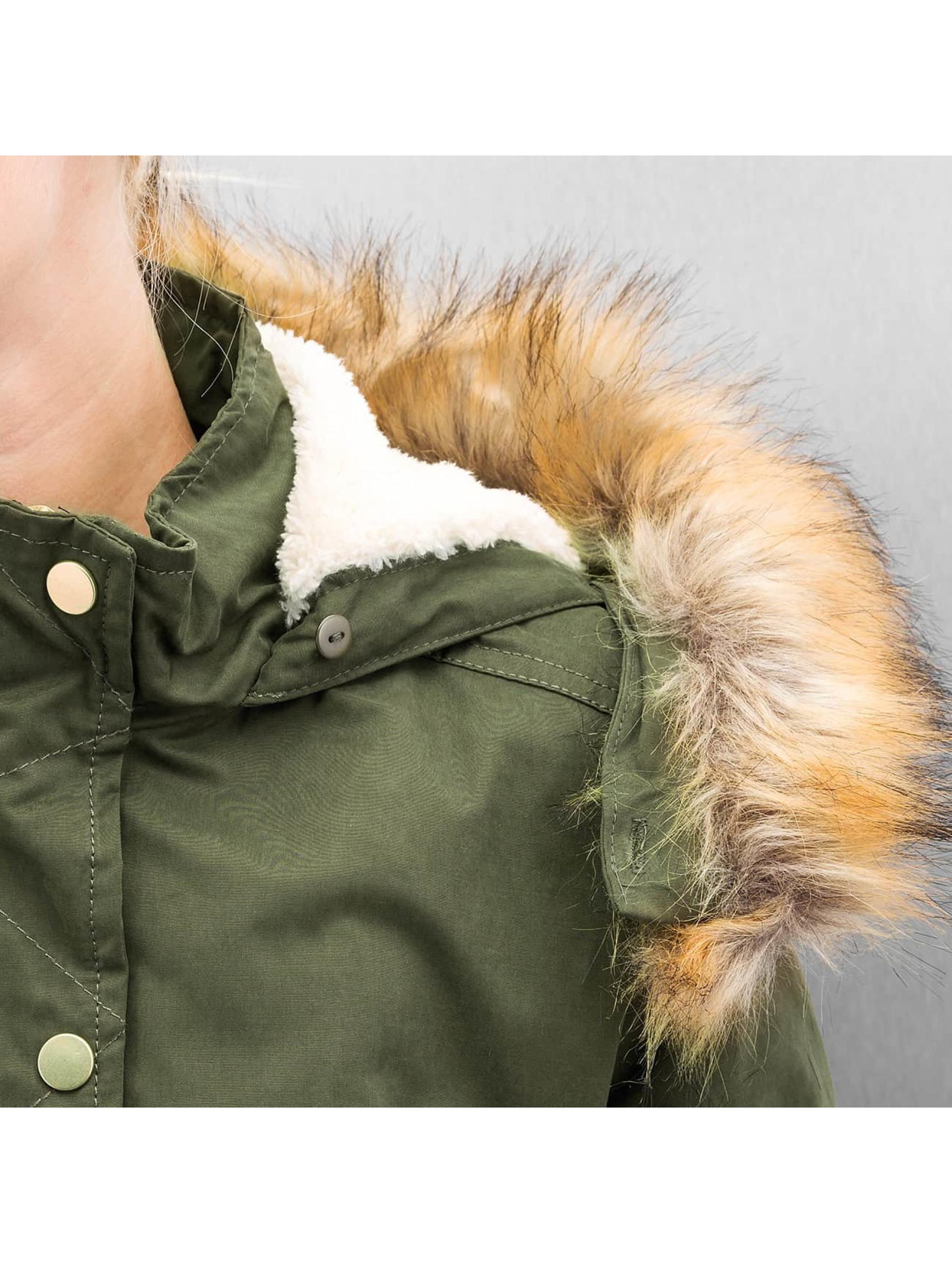 Urban Classics winterjas Ladies Sherpa Lined Peached olijfgroen