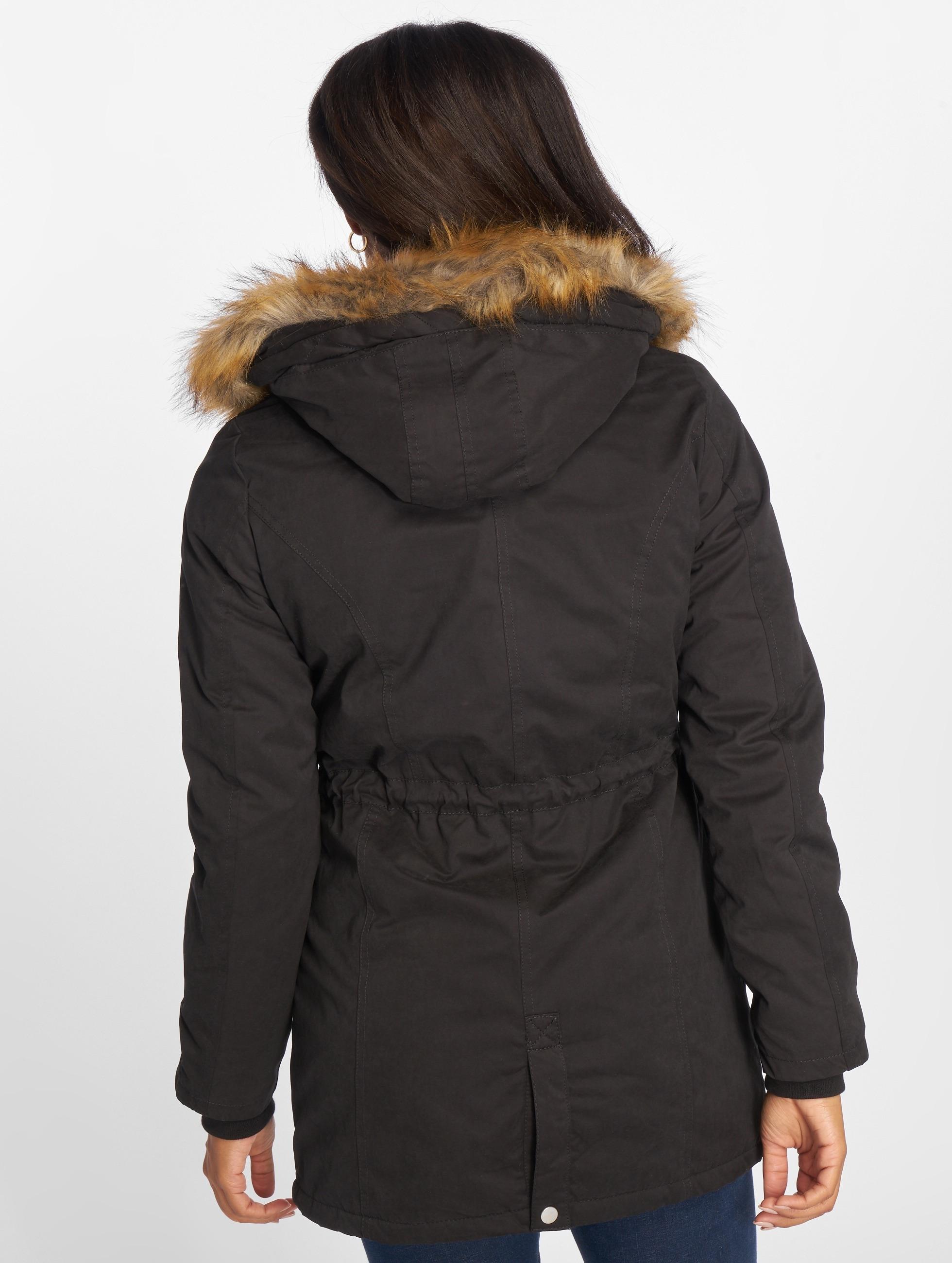 Urban Classics winterjas Ladies Sherpa Lined Peached zwart