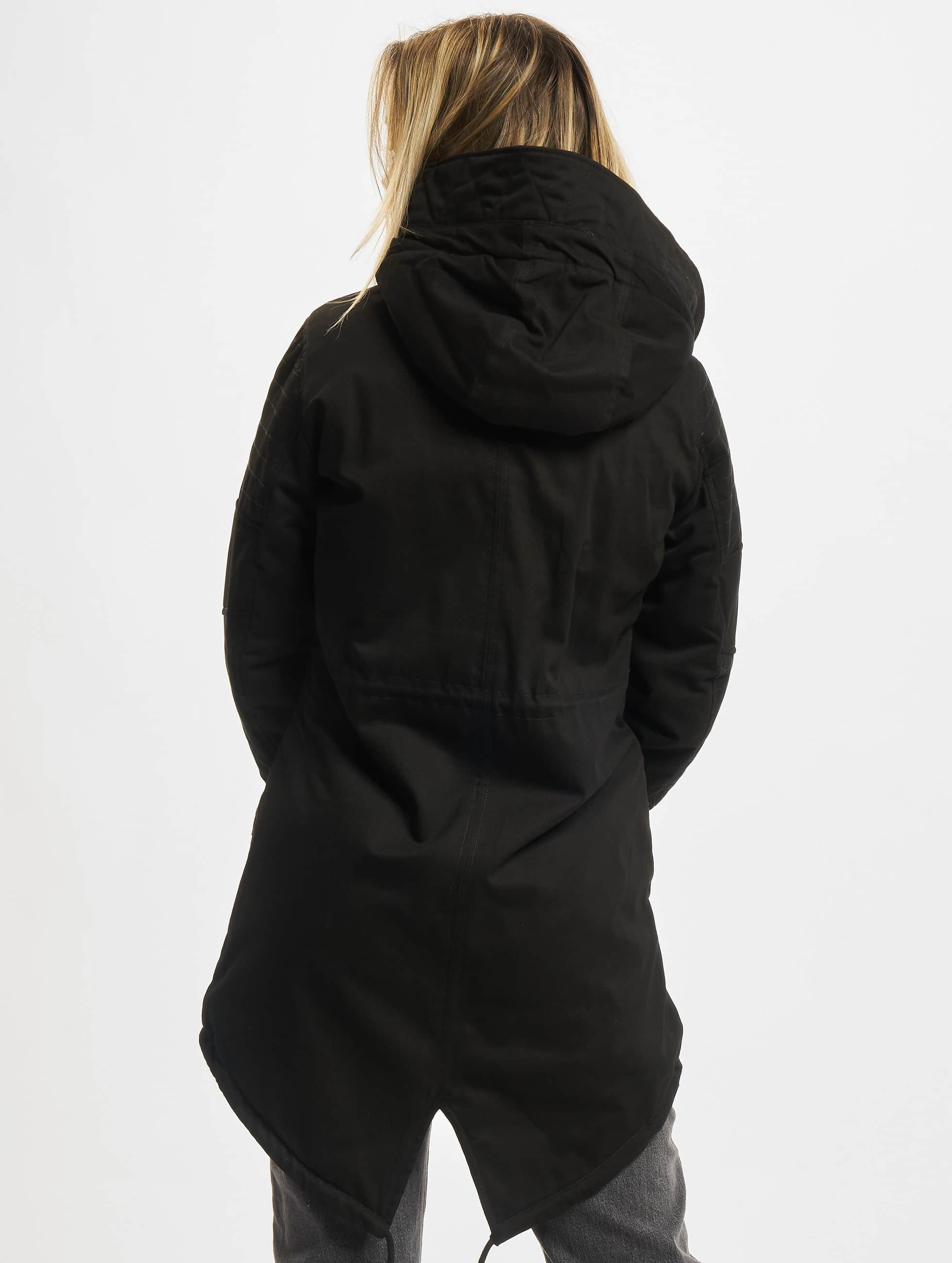 Urban Classics winterjas Ladies Sherpa Lined Cotton zwart