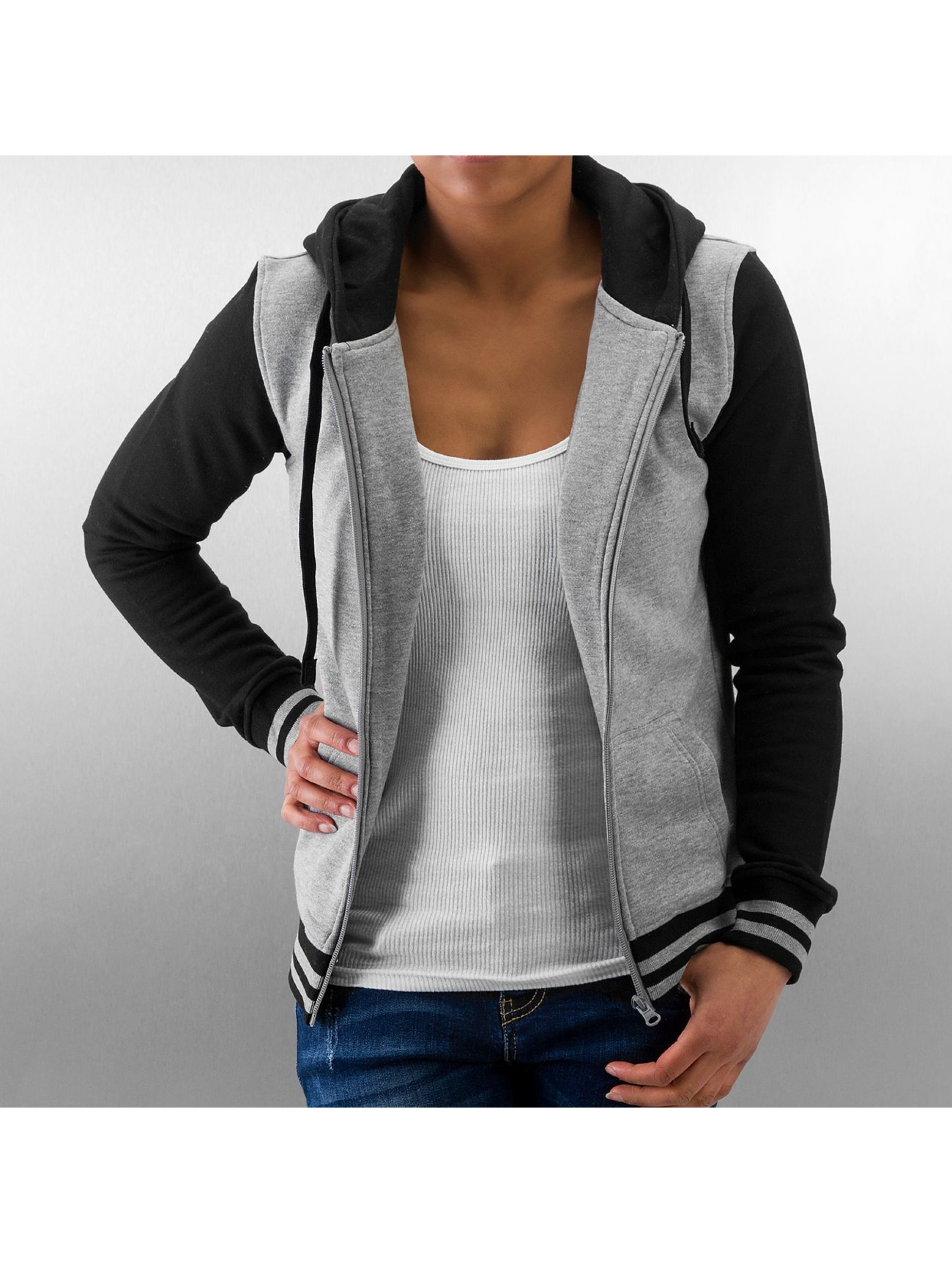 Urban Classics Zip Hoodie Ladies 2-Tone College серый