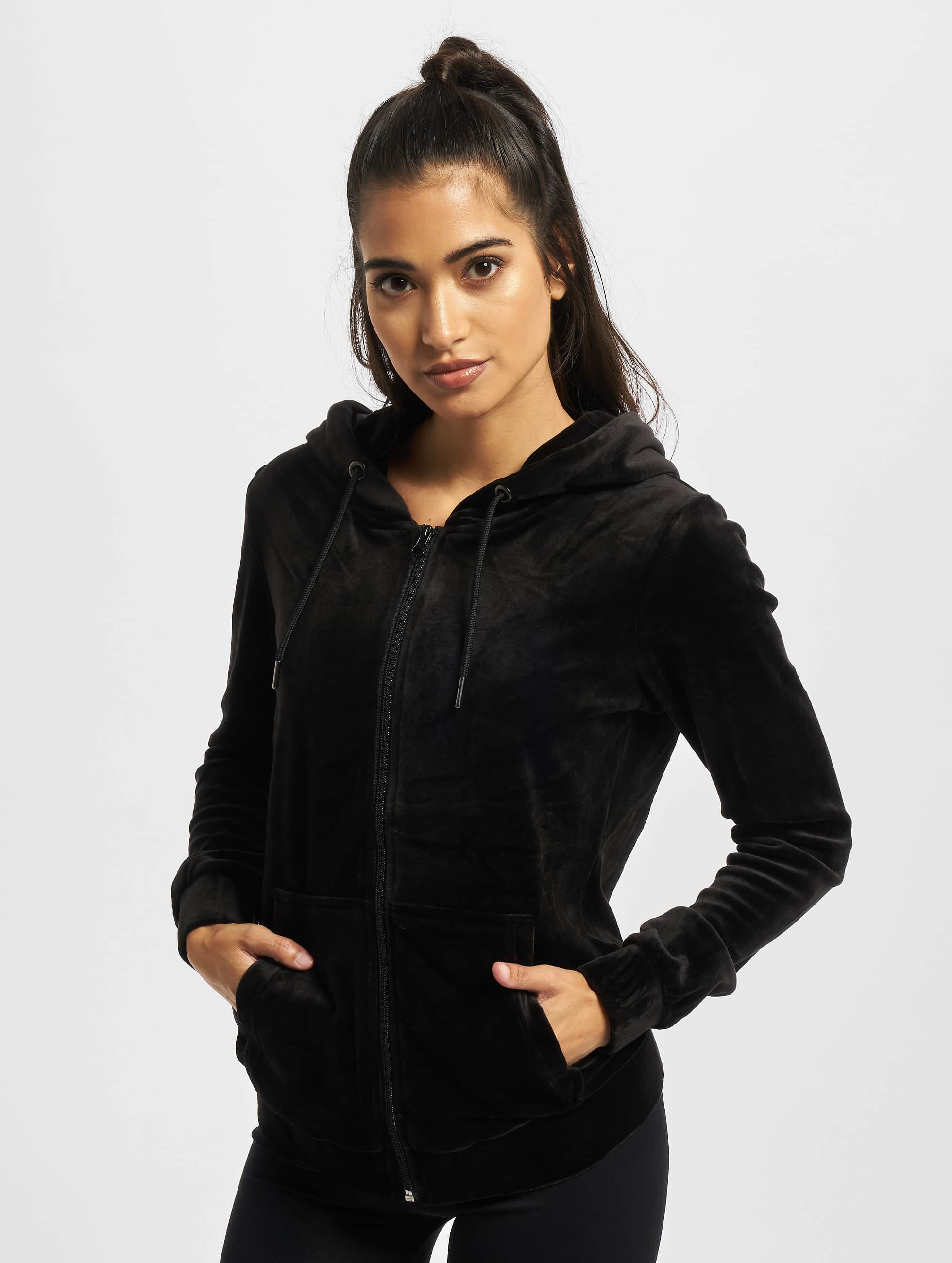 Urban Classics Zip Hoodie Ladies Velvet black