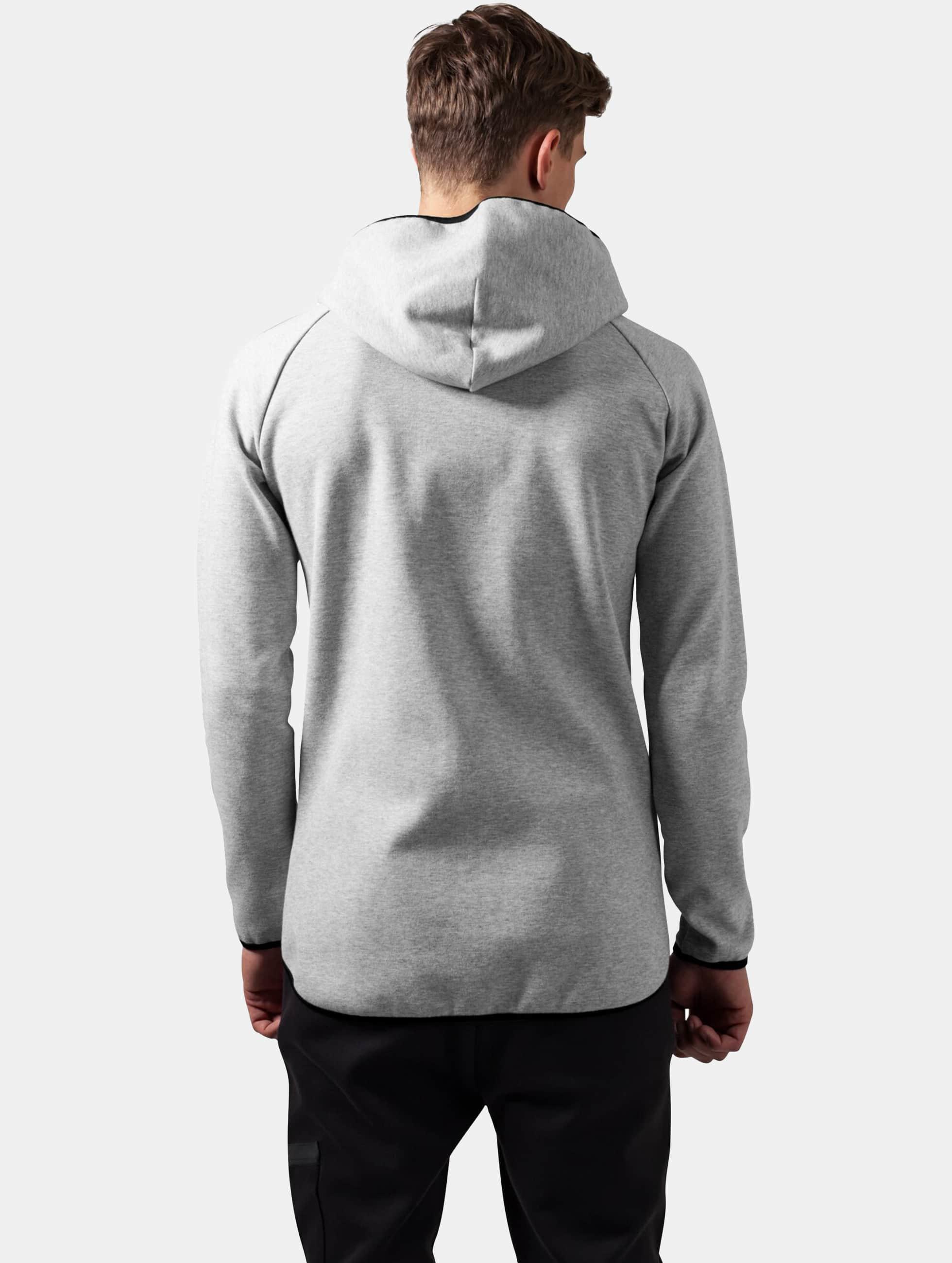 Urban Classics Zip Hoodie Athletic High Neck Interlock grey