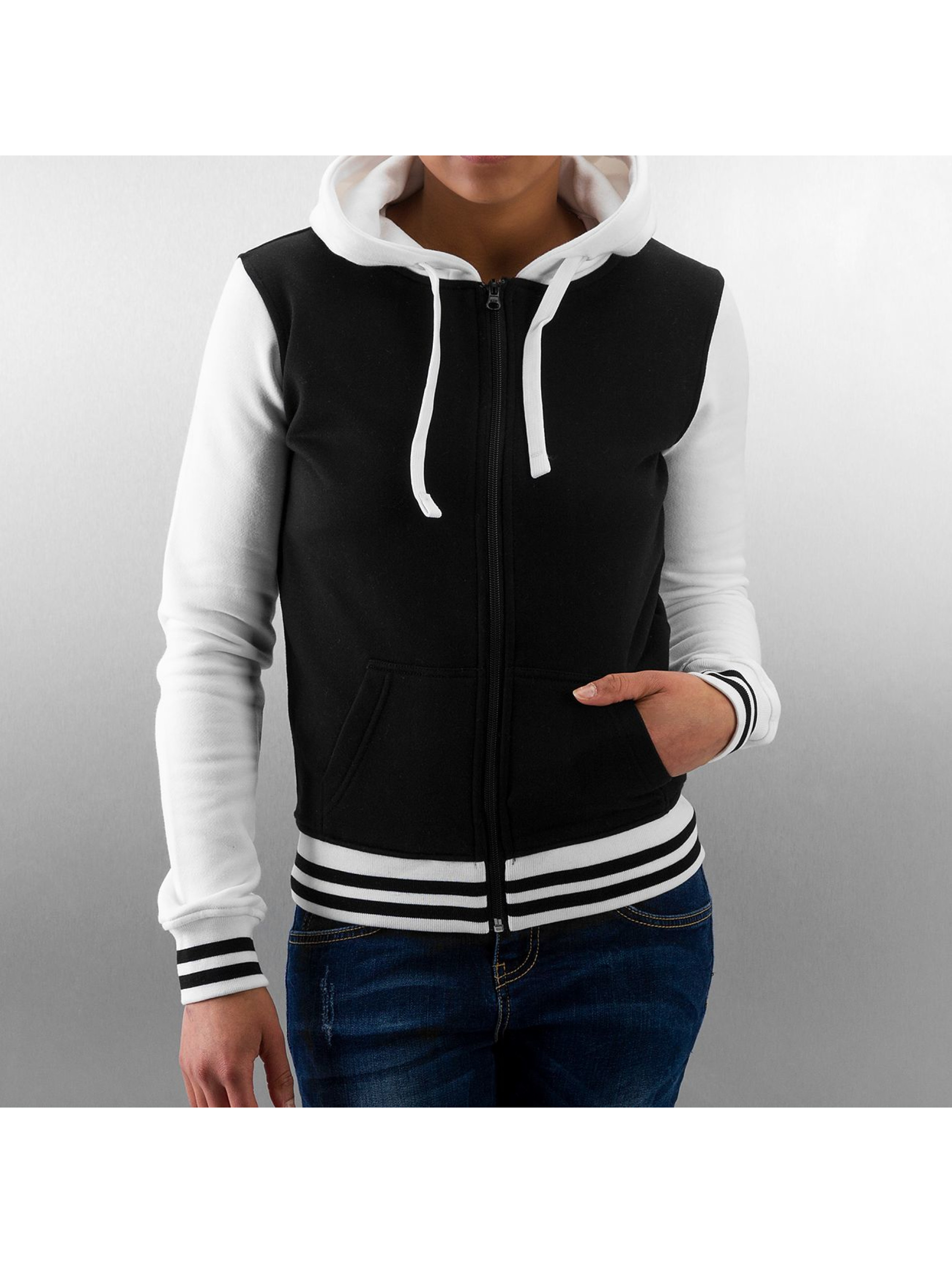 Urban Classics Zip Hoodie Ladies 2-Tone College schwarz