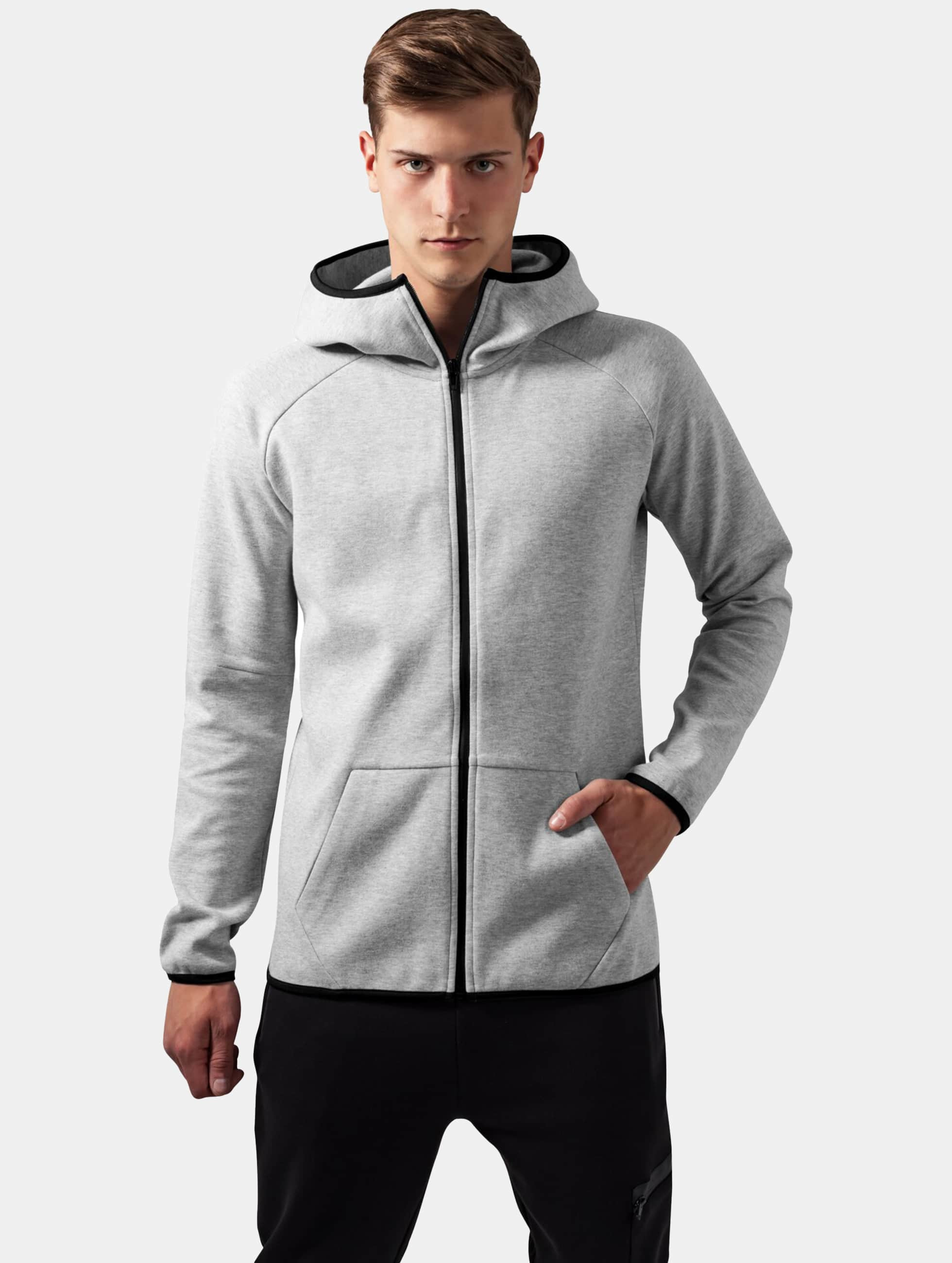 Urban Classics Zip Hoodie Athletic High Neck Interlock szary