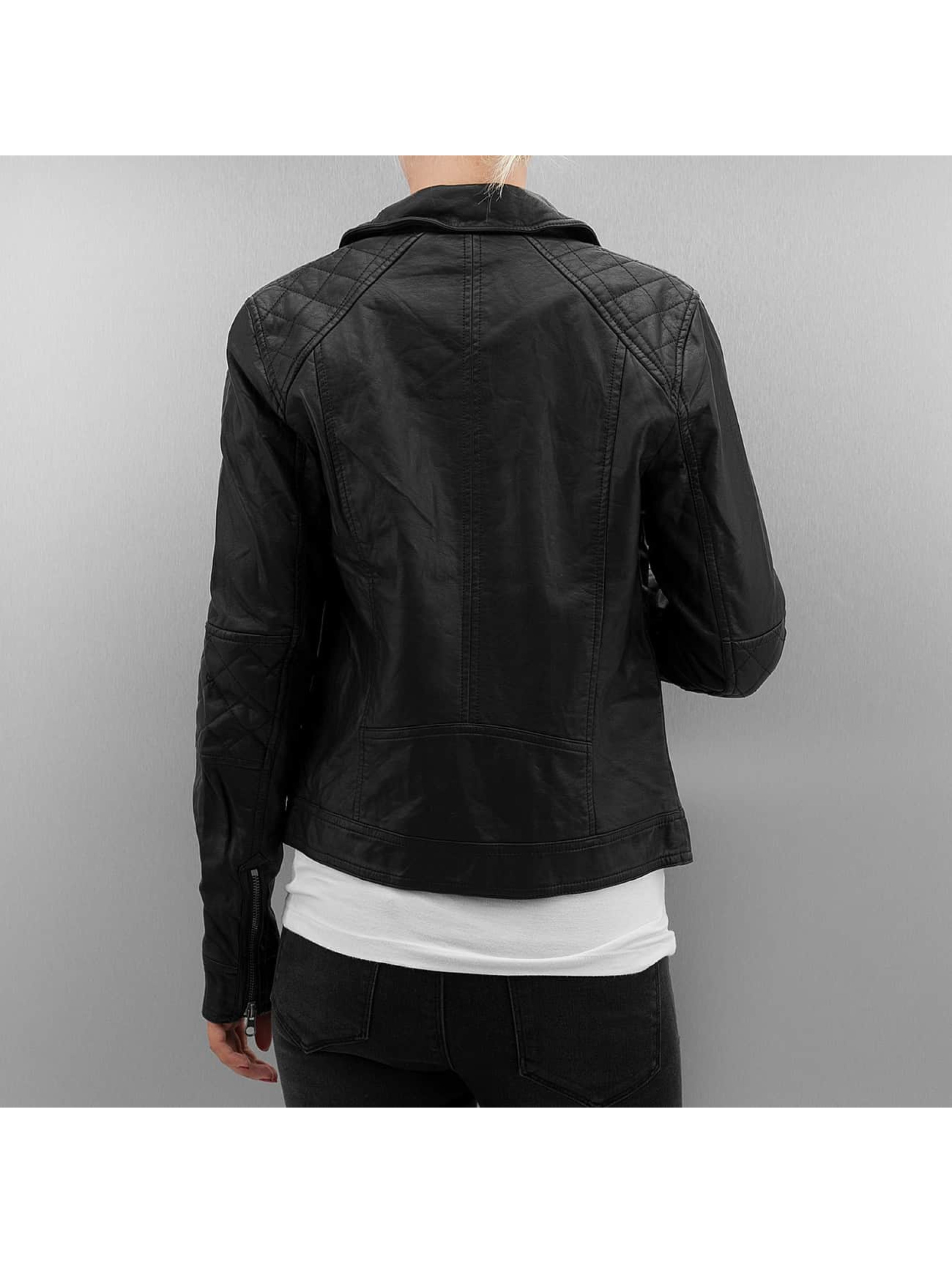 Urban Classics Zomerjas Ladies Leather Imitation Biker zwart