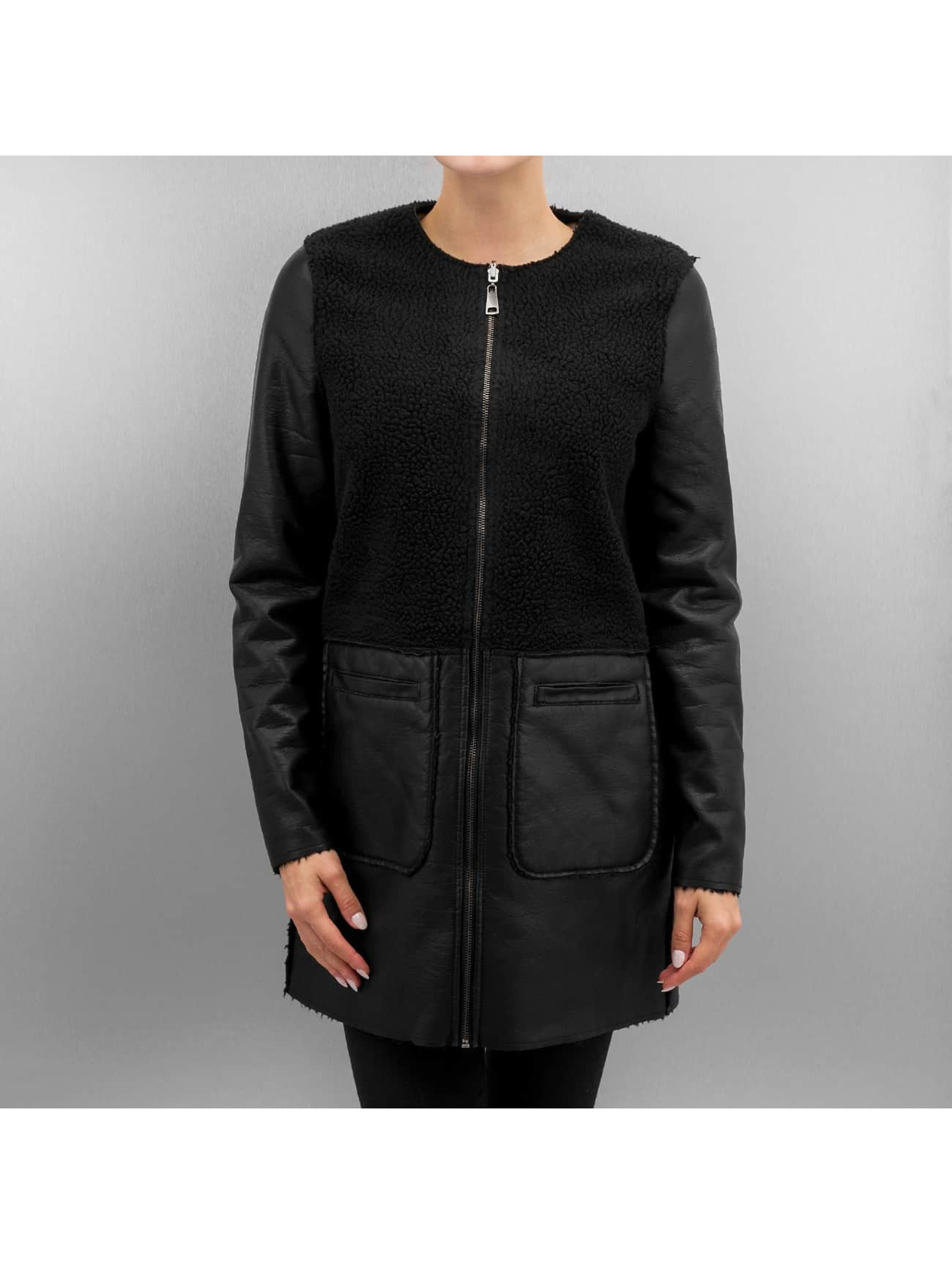 Vero Moda Leather Jacket vmToni 3/4 Leather Long Reversible black