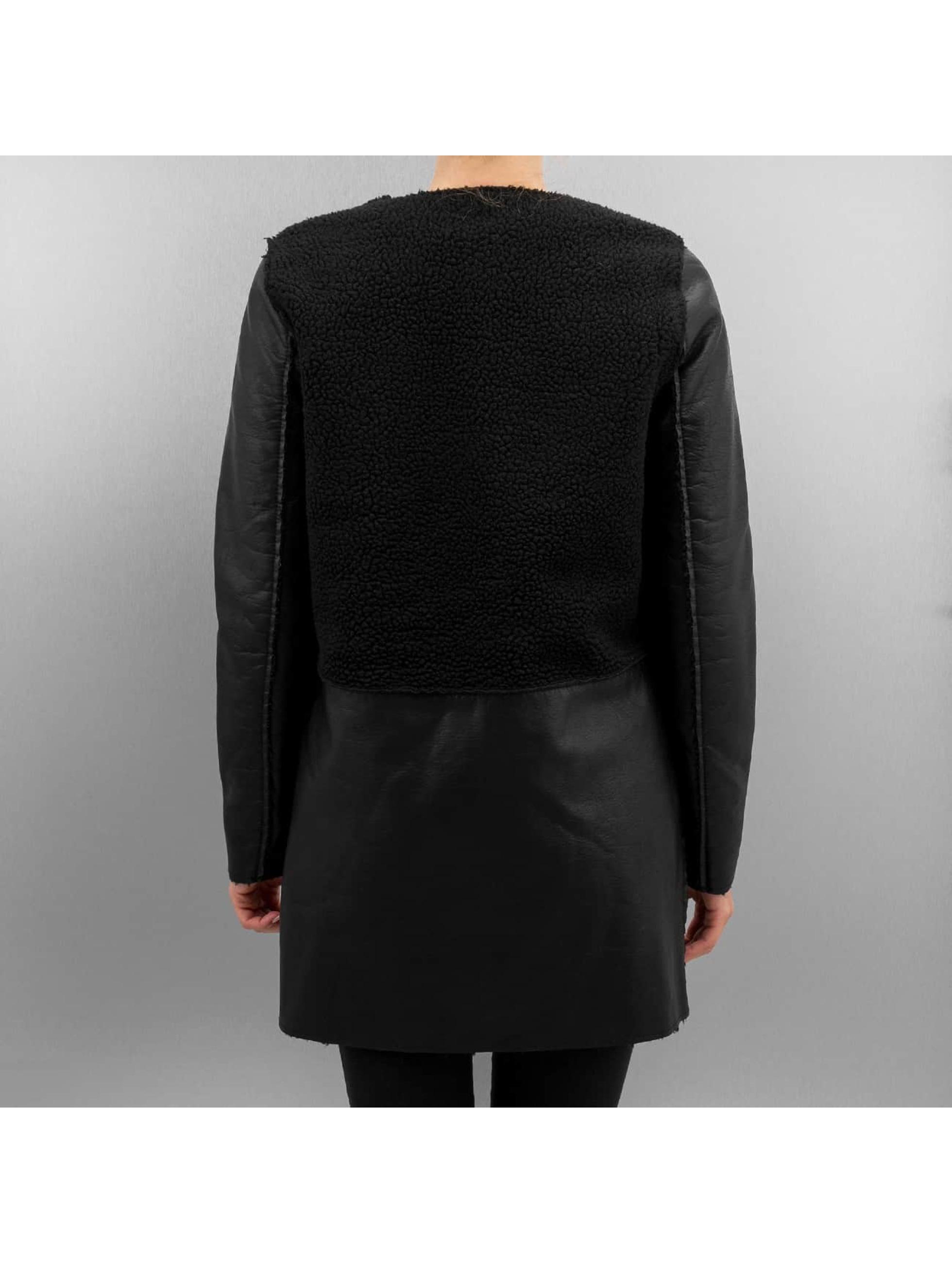 Vero Moda Leather Jacket vmToni 3/4 Leather Long Reversible black