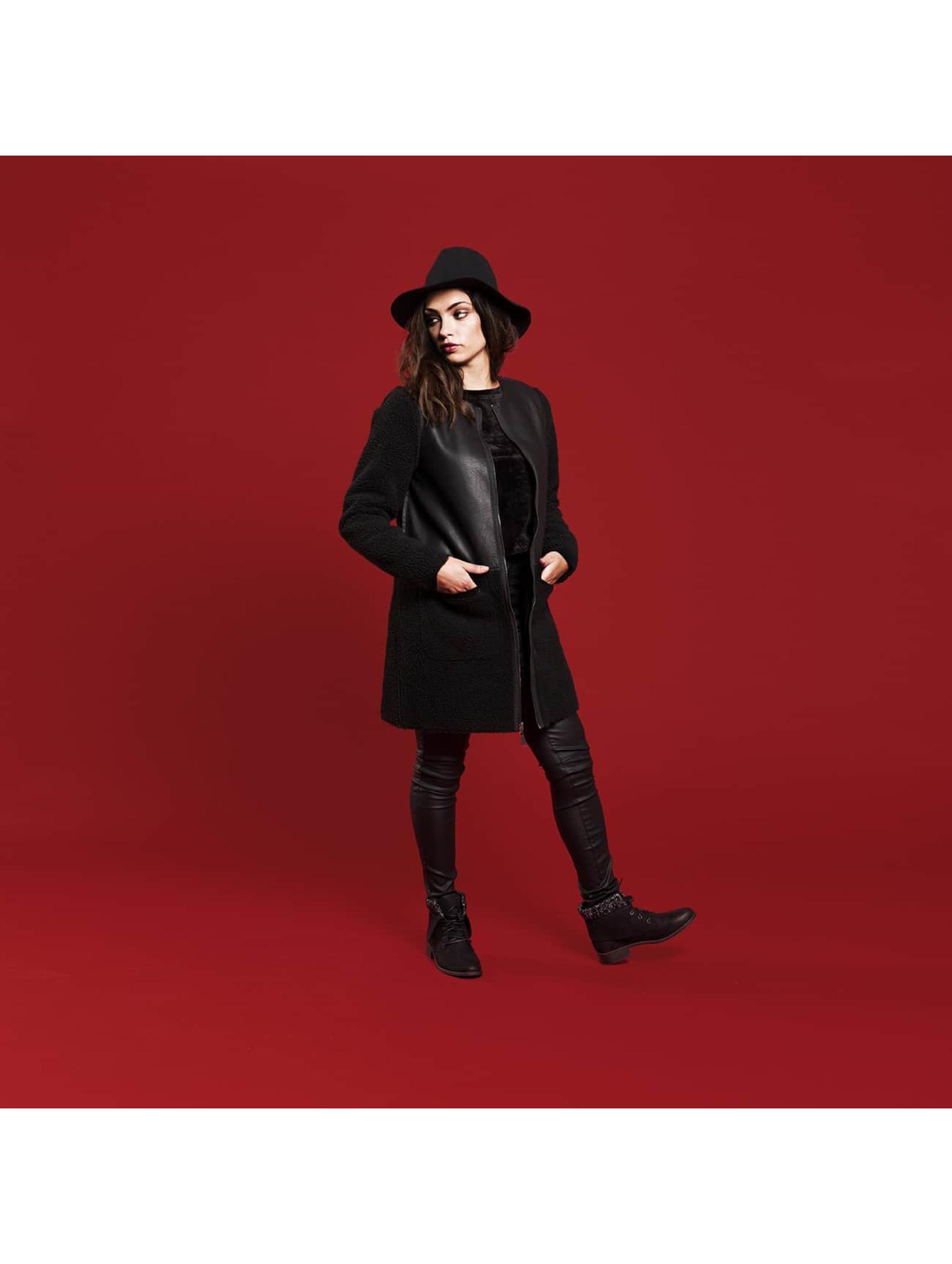Vero Moda leren jas vmToni 3/4 Leather Long Reversible zwart