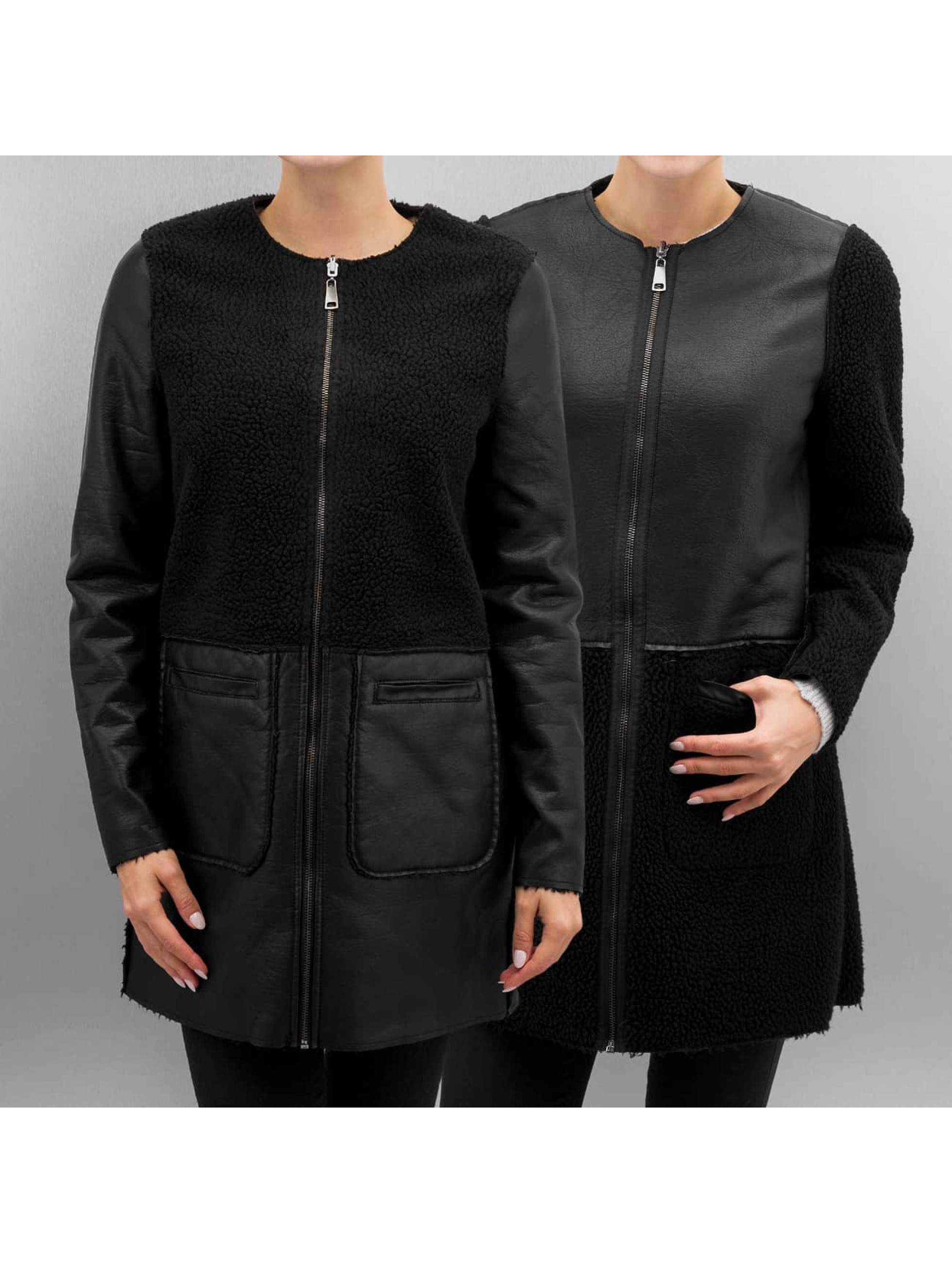 Vero Moda Veste & Blouson en cuir vmToni 3/4 Leather Long Reversible noir