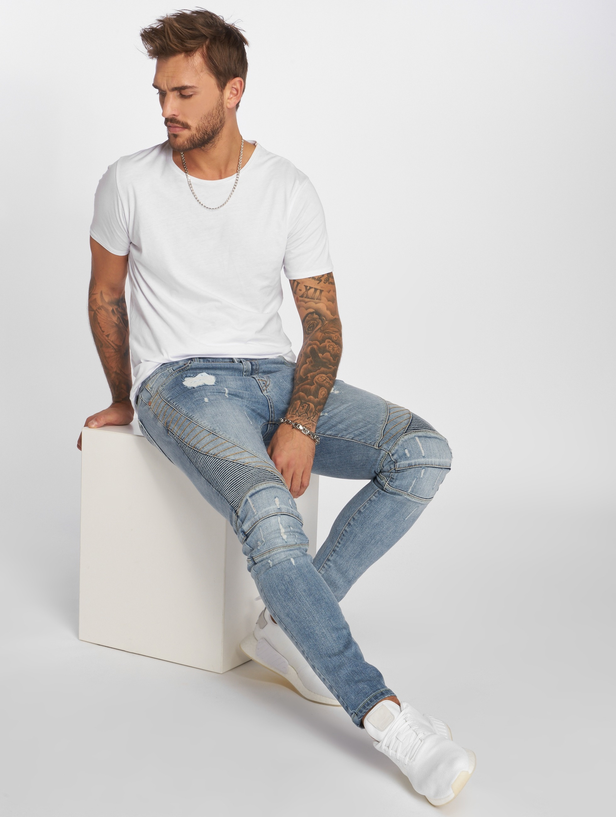 VSCT Clubwear dżinsy przylegające Ryder Biker Luxury niebieski
