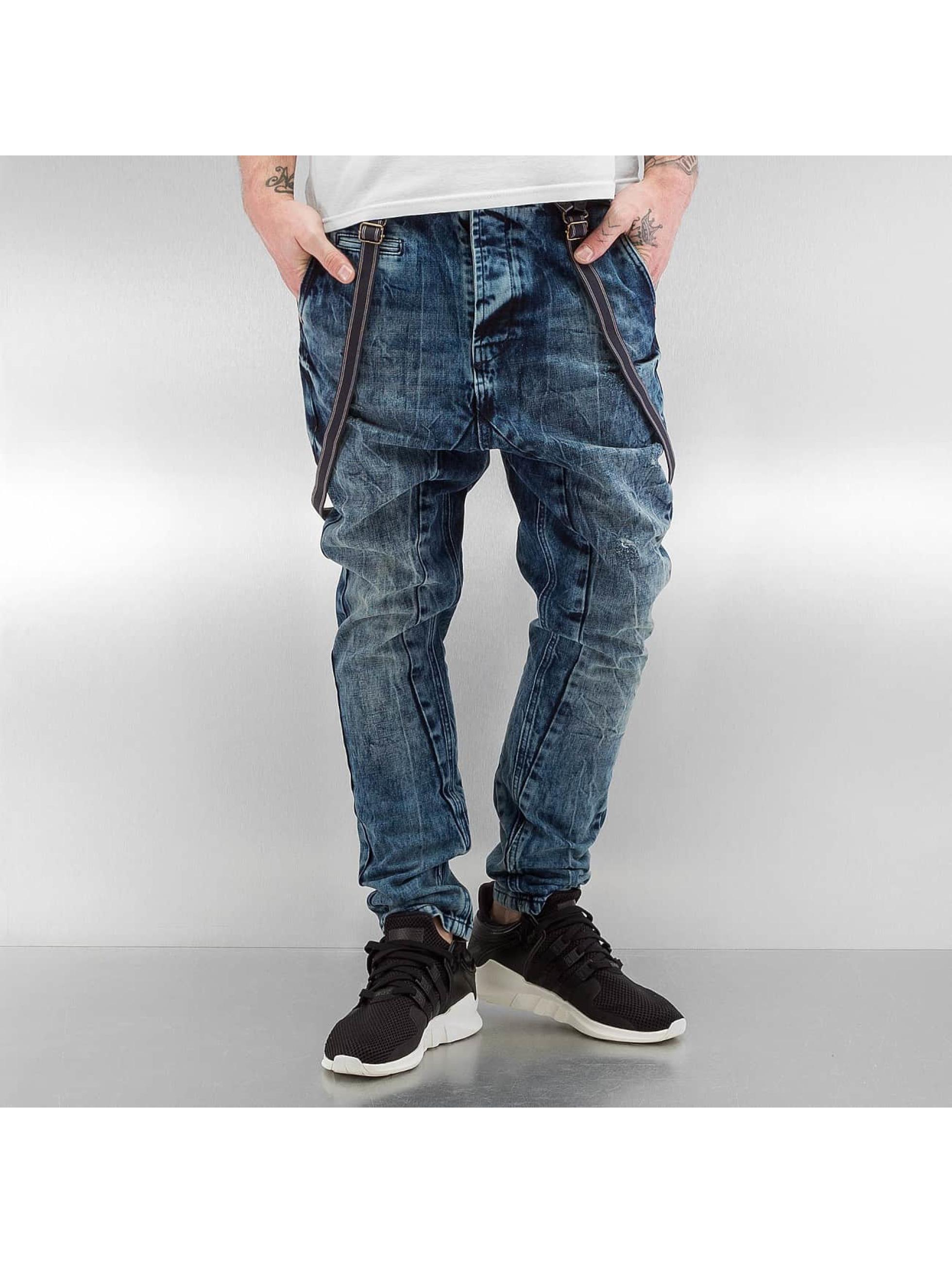 VSCT Clubwear Jean carotte antifit Brad Slim with Supspenders bleu