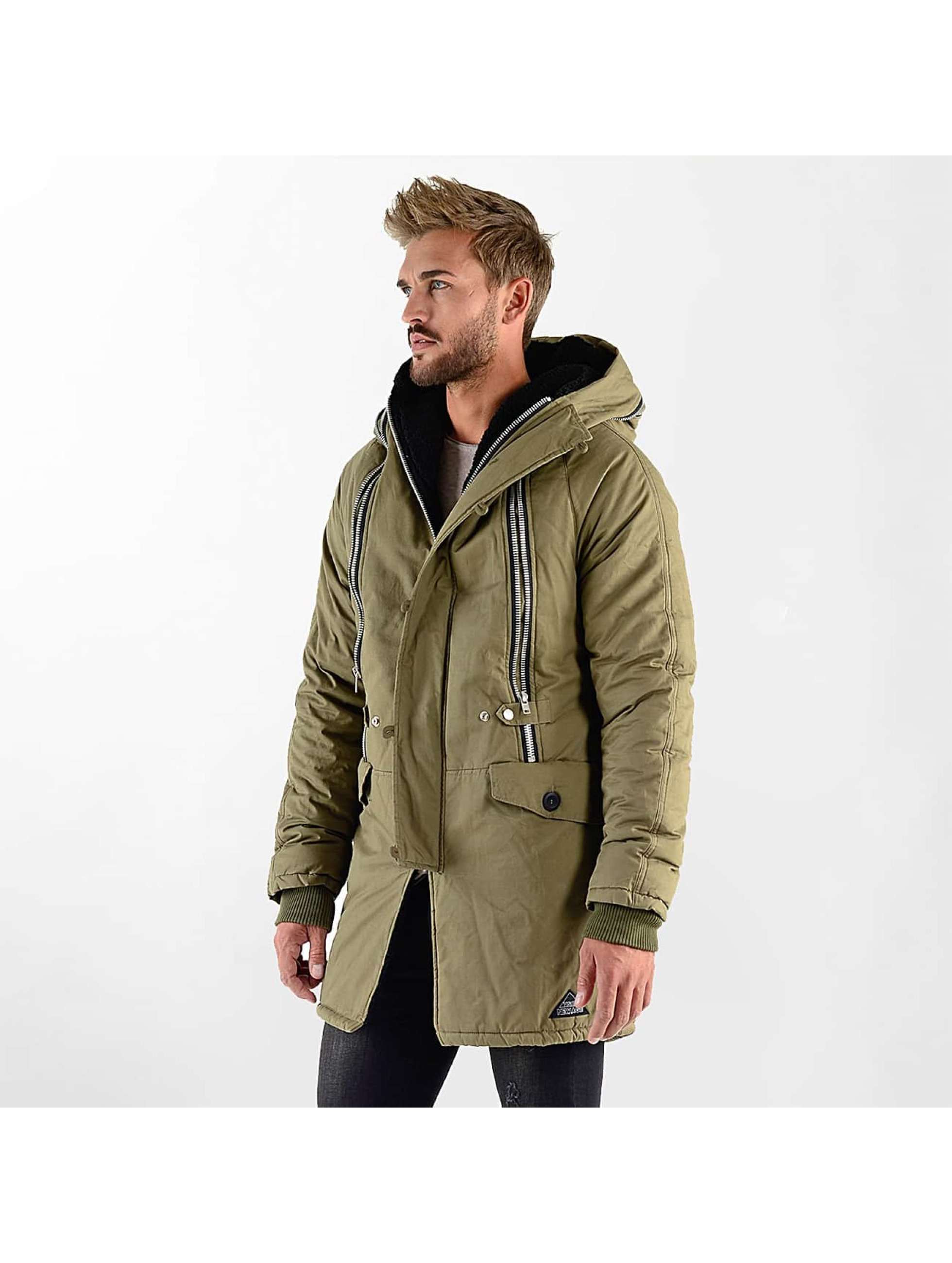 VSCT Clubwear Manteau hiver Double-Zipper Huge Luxury Sherpa kaki