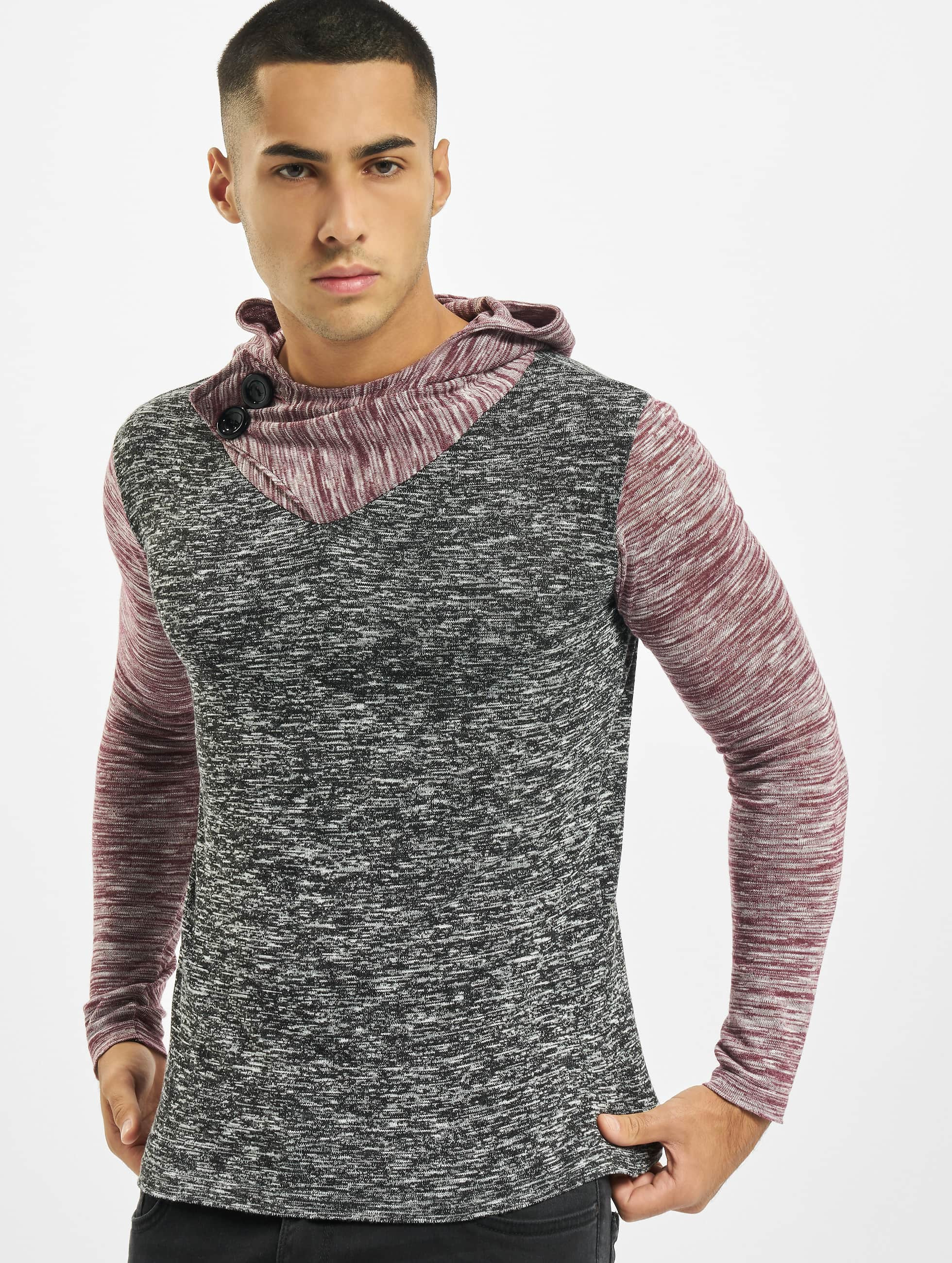 VSCT Clubwear Sweat capuche 2 Btn Hooded Moulinee 2 Colour rouge