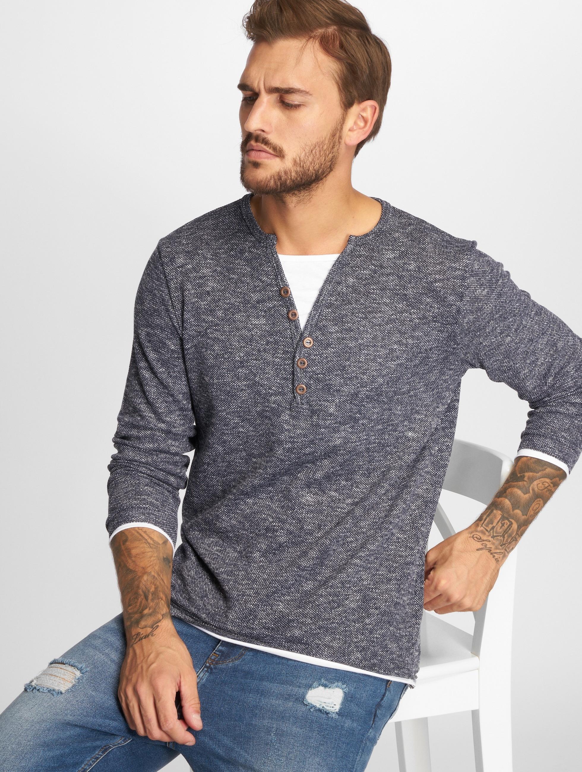 VSCT Clubwear Tričká dlhý rukáv Buttoned Double Optic Basic indigo