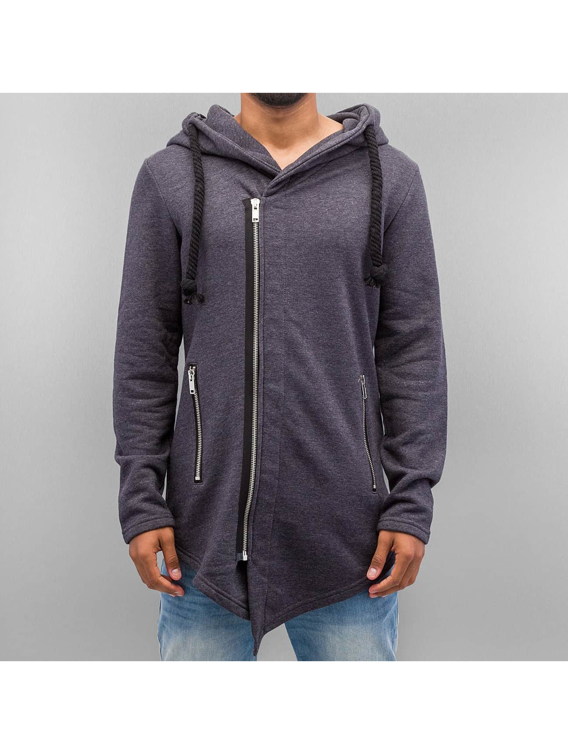 VSCT Clubwear Zip Hoodie Hooded Luxury Asym Sweat grau