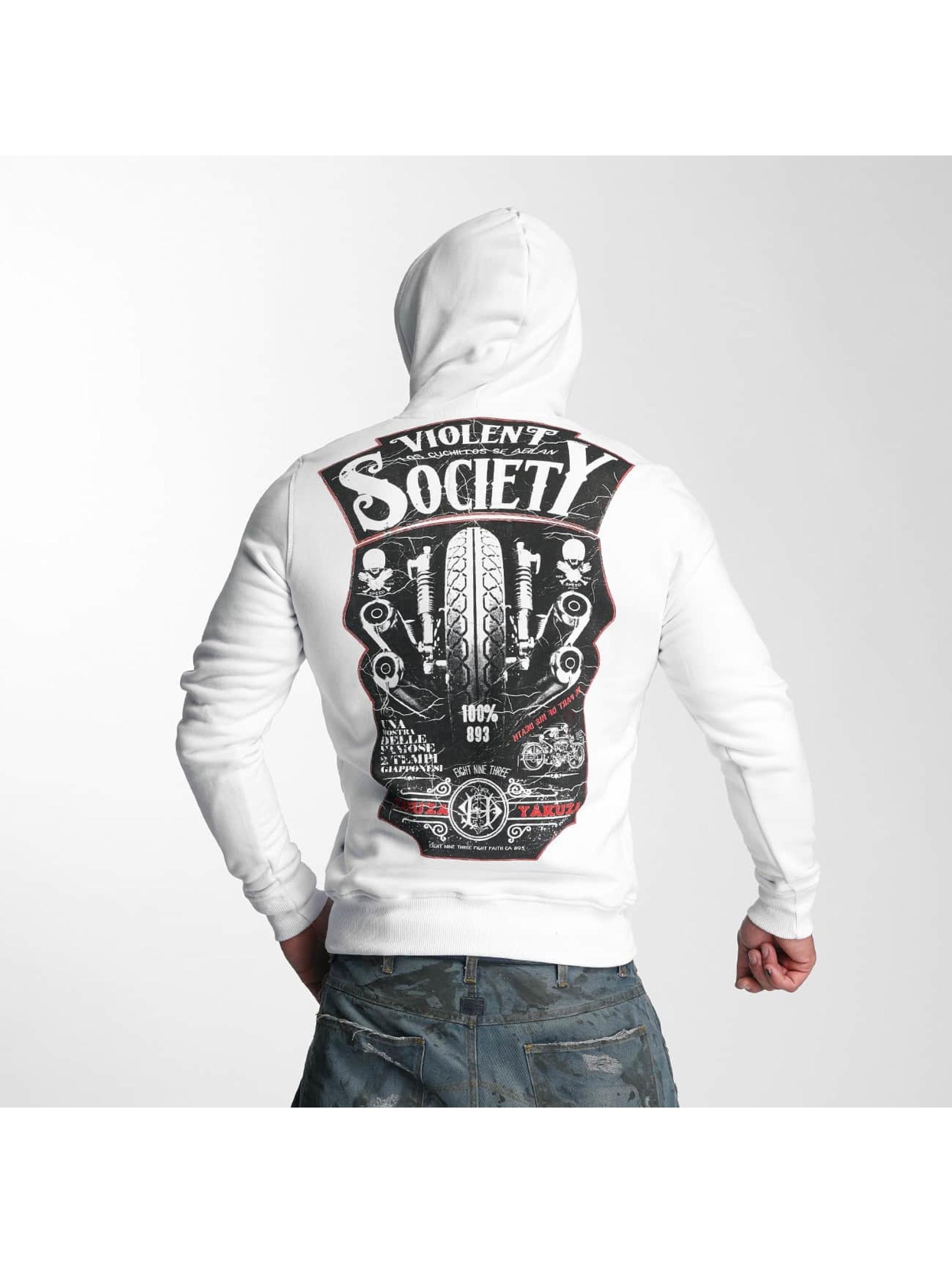 Yakuza Bluzy z kapturem Violent Society bialy