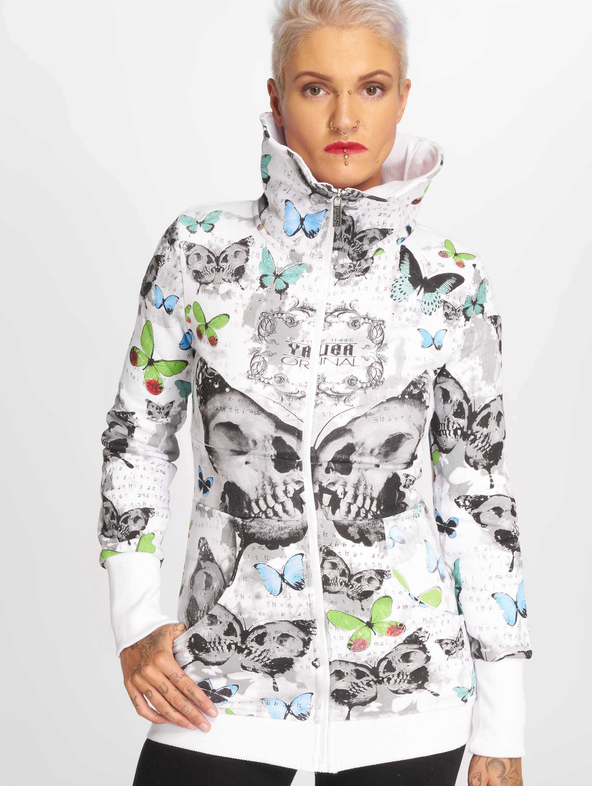 Yakuza Hoodies con zip Butterfly bianco