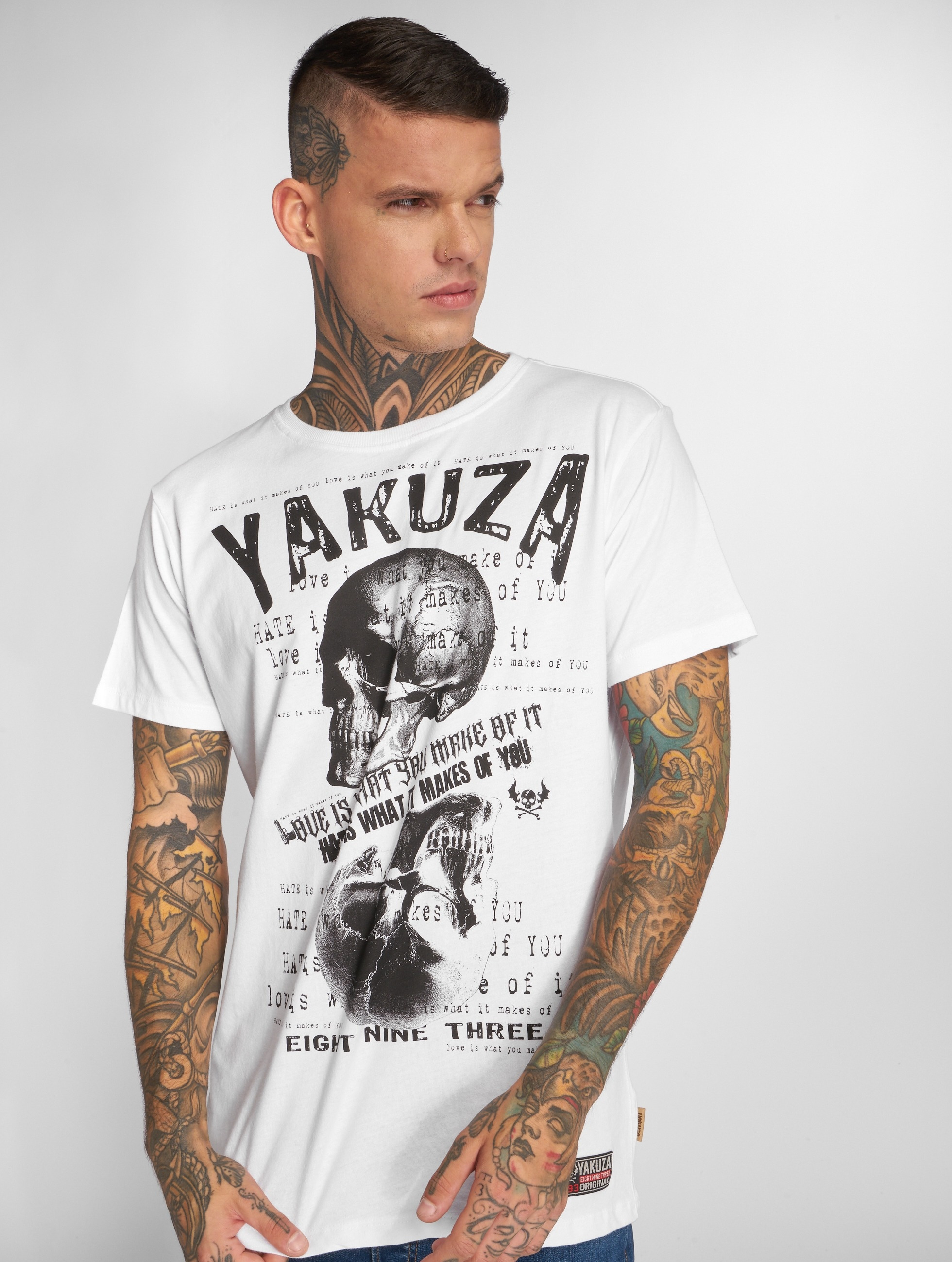 Yakuza T-shirt Love Hate bianco