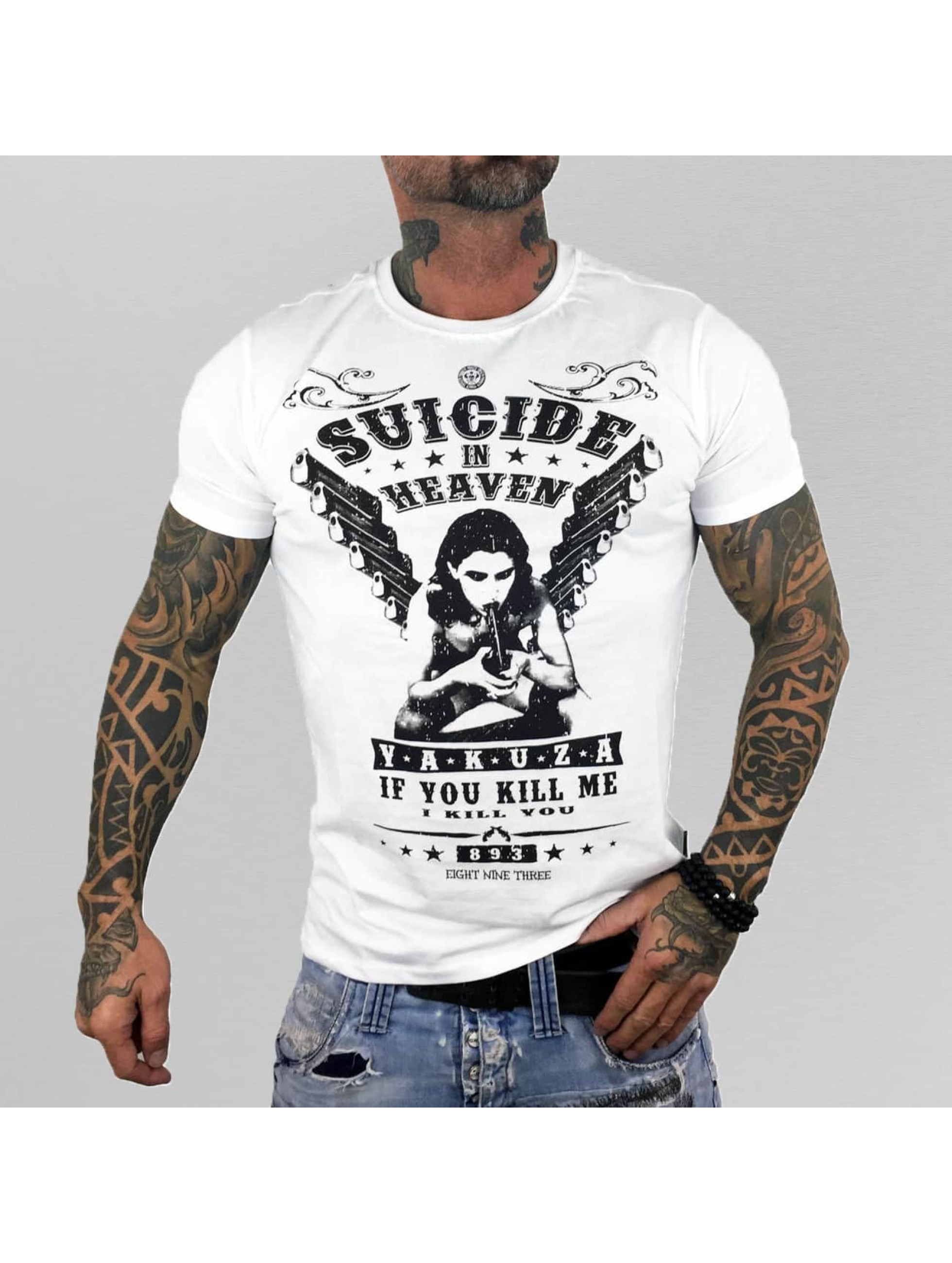 Yakuza T-Shirty Suicide In Heaven bialy