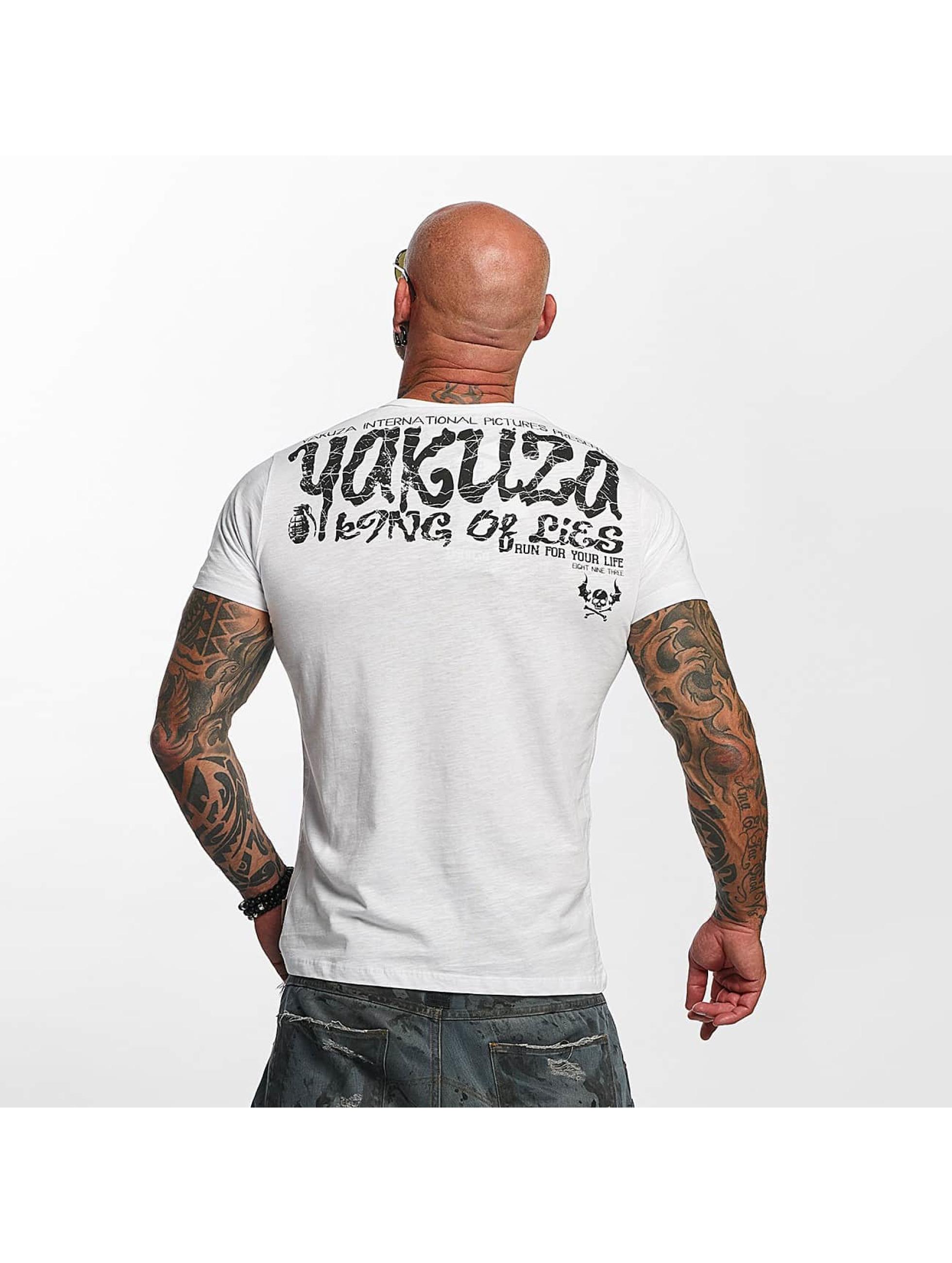 Yakuza T-Shirty King Of Lies bialy