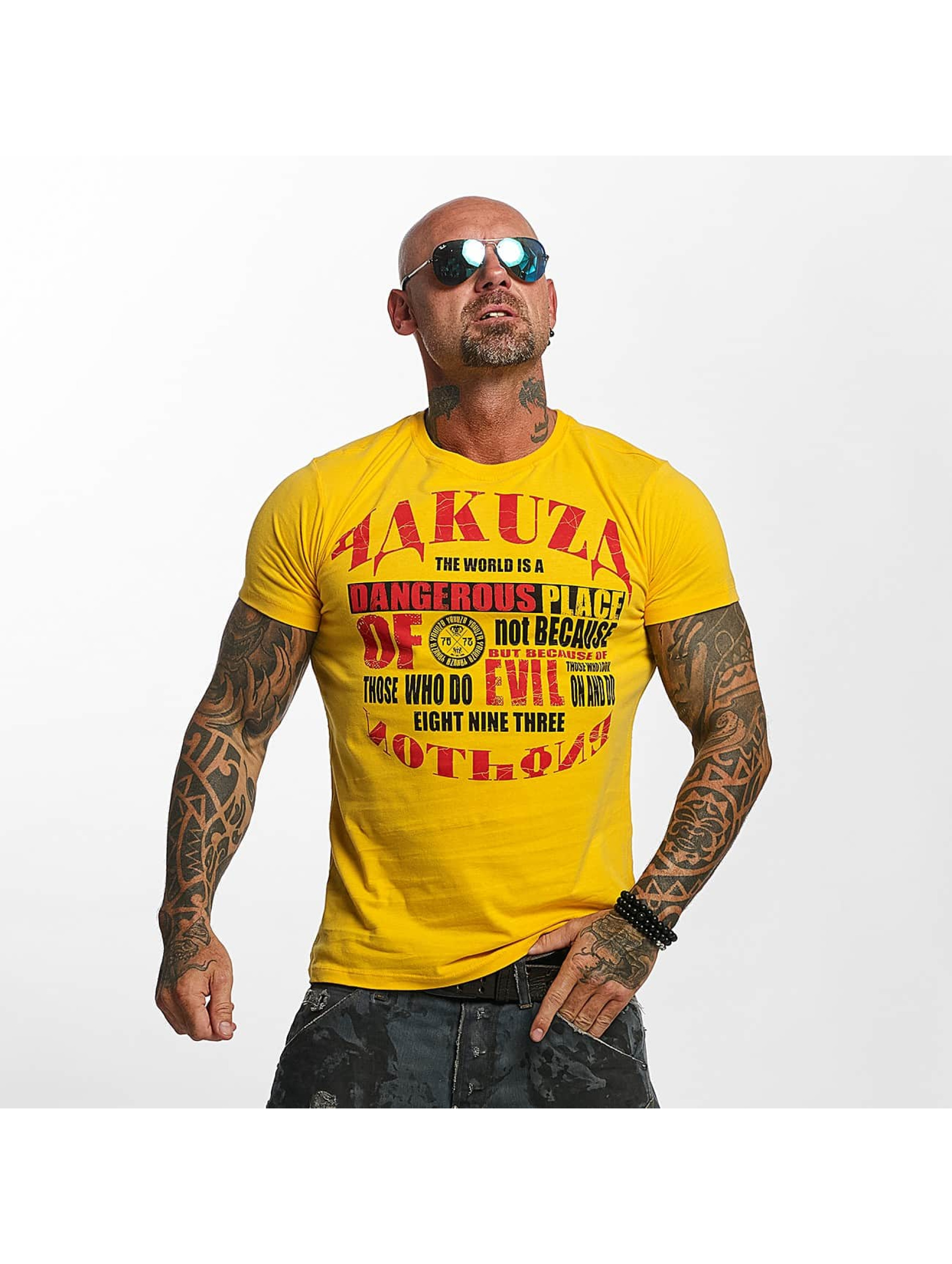 Yakuza T-Shirty Dangerous Place zólty