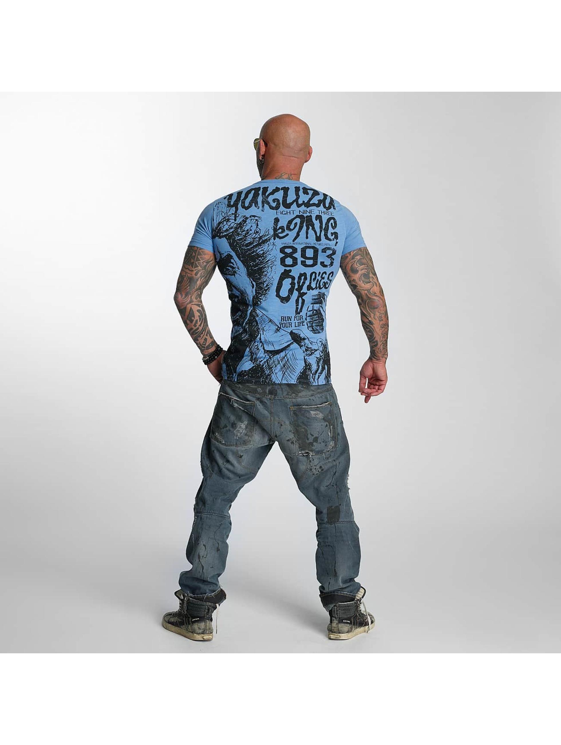 Yakuza T-skjorter Allover King blå